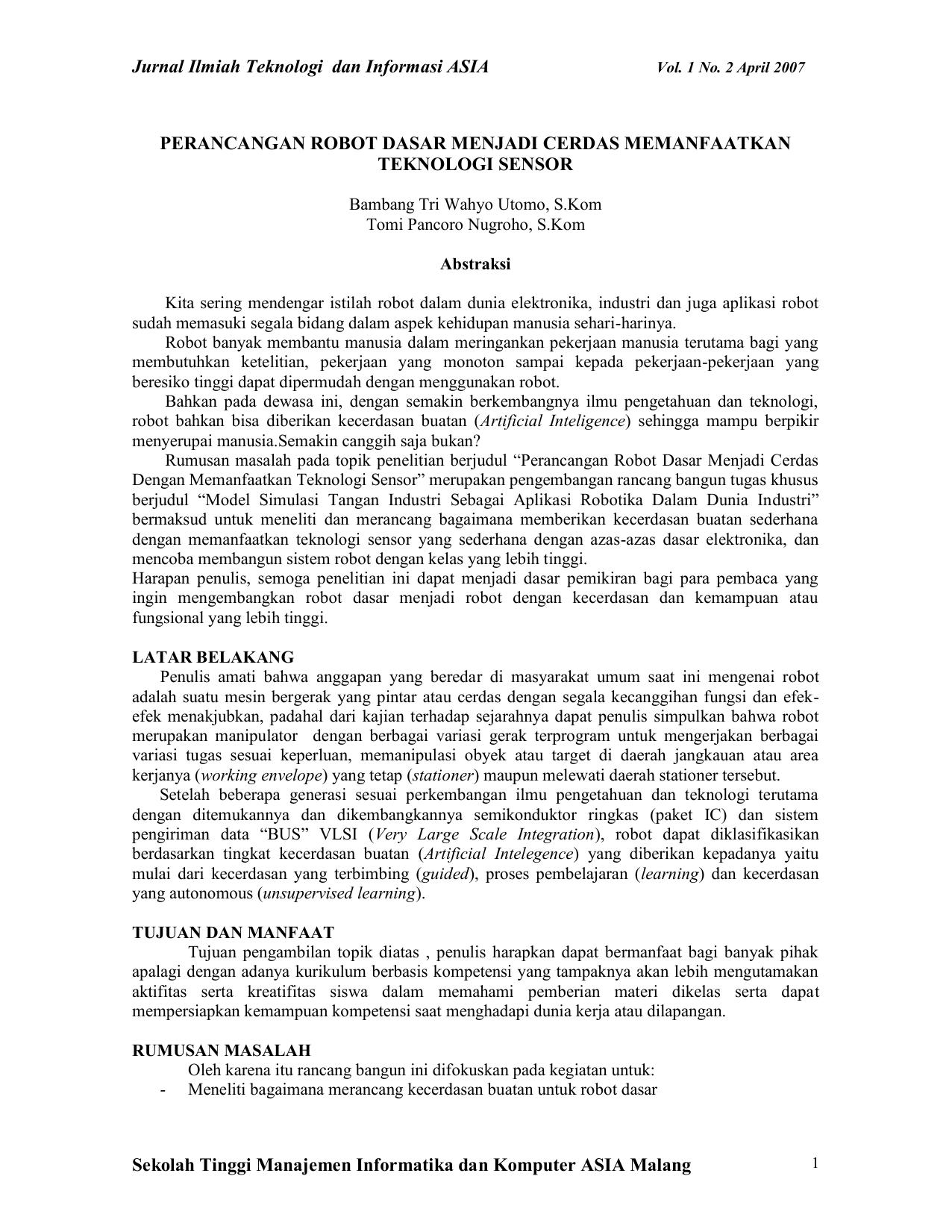 BAB I - Jurnal Ilmiah Teknologi Informasi Asia