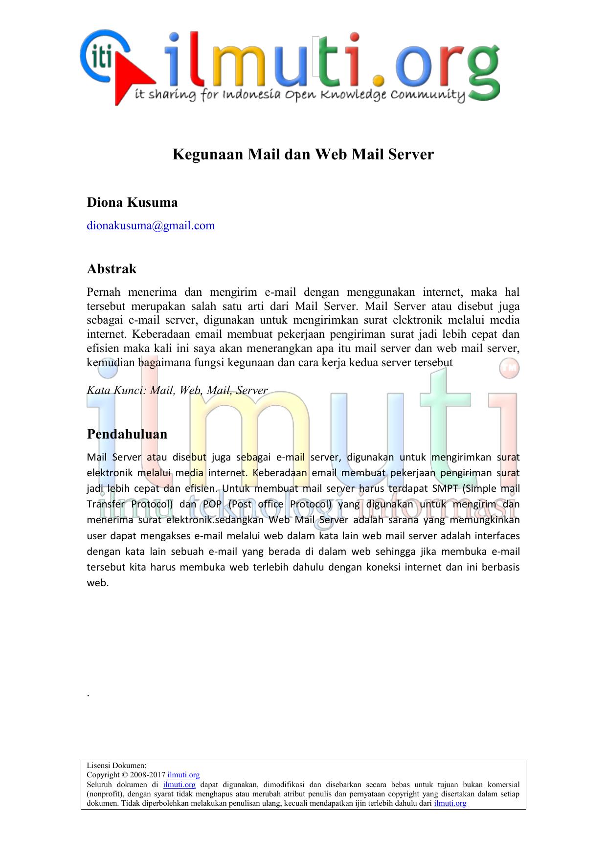 Kegunaan Mail Dan Web Mail Server