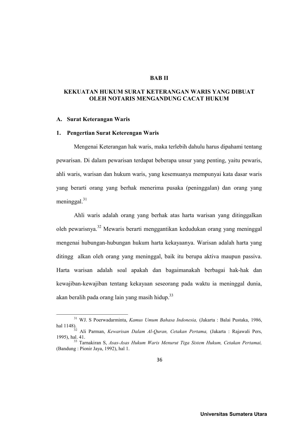 36 Bab Ii Kekuatan Hukum Surat Keterangan Waris