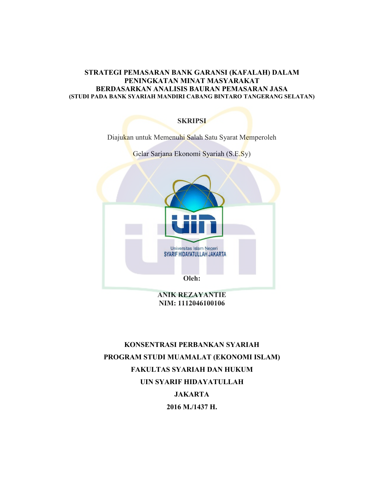 Strategi Pemasaran Bank Garansi Uin Repository