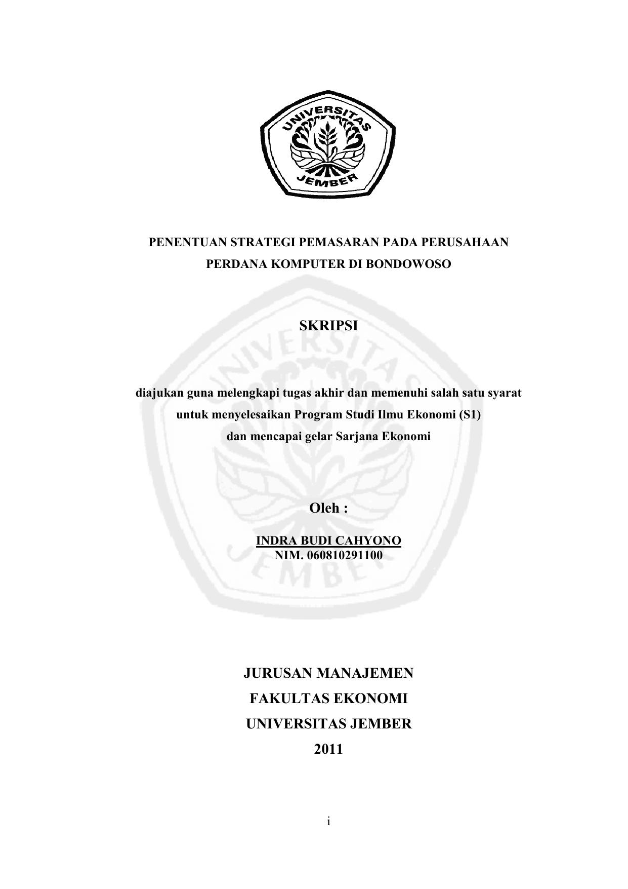 Skripsi Oleh Jurusan Manajemen Fakultas Ekonomi