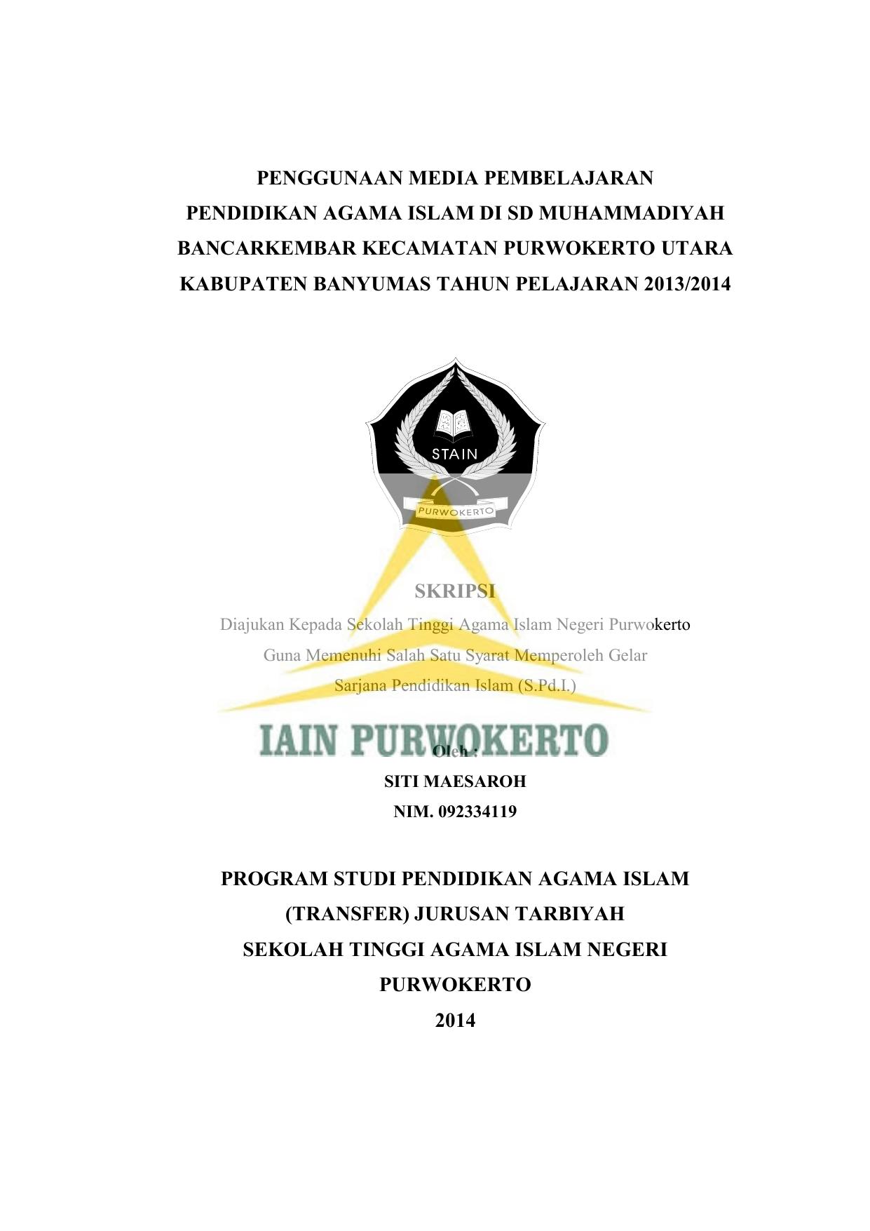 Penggunaan Media Pembelajaran Pendidikan Agama Islam Di Sd