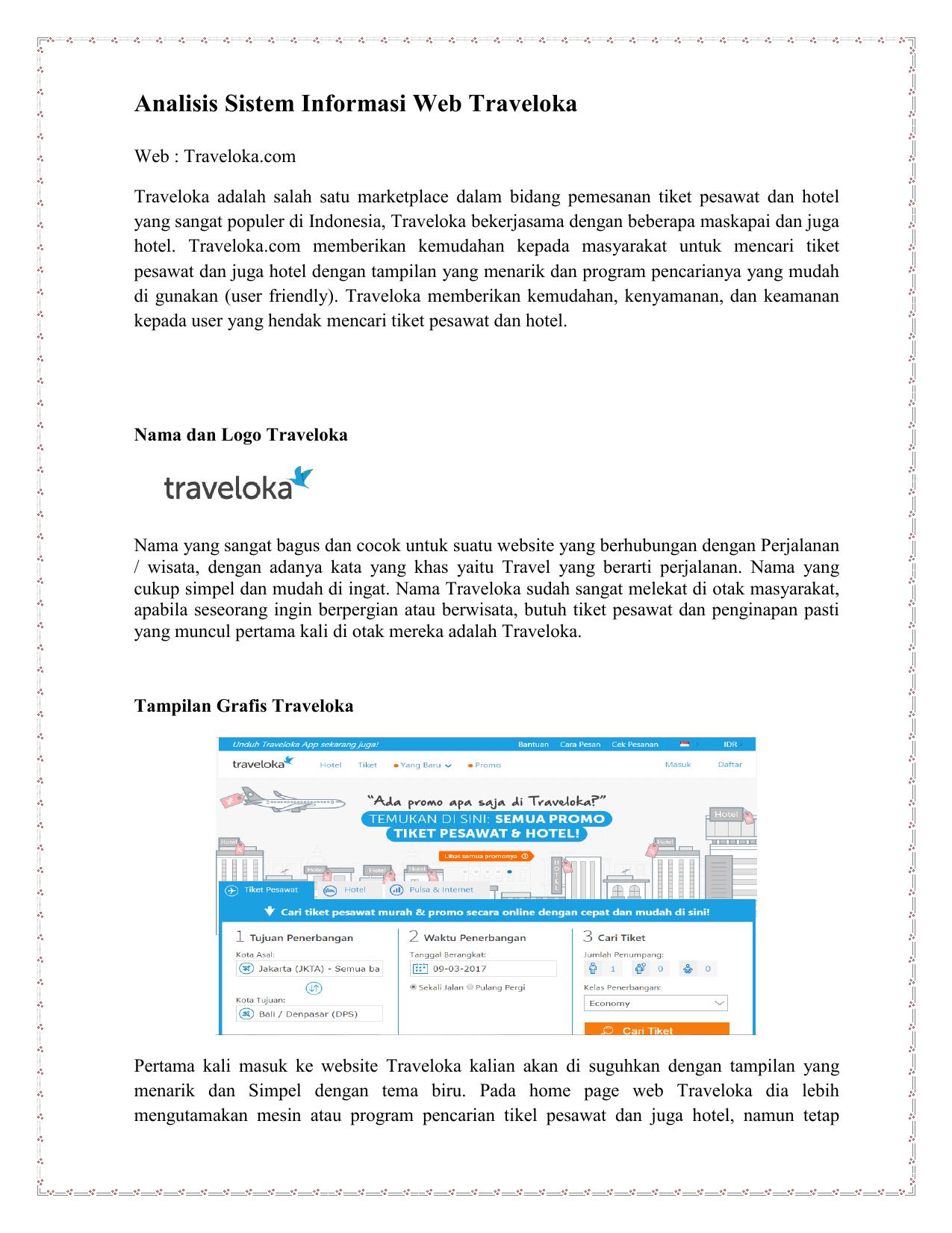 Analisis Sistem Informasi Web Traveloka
