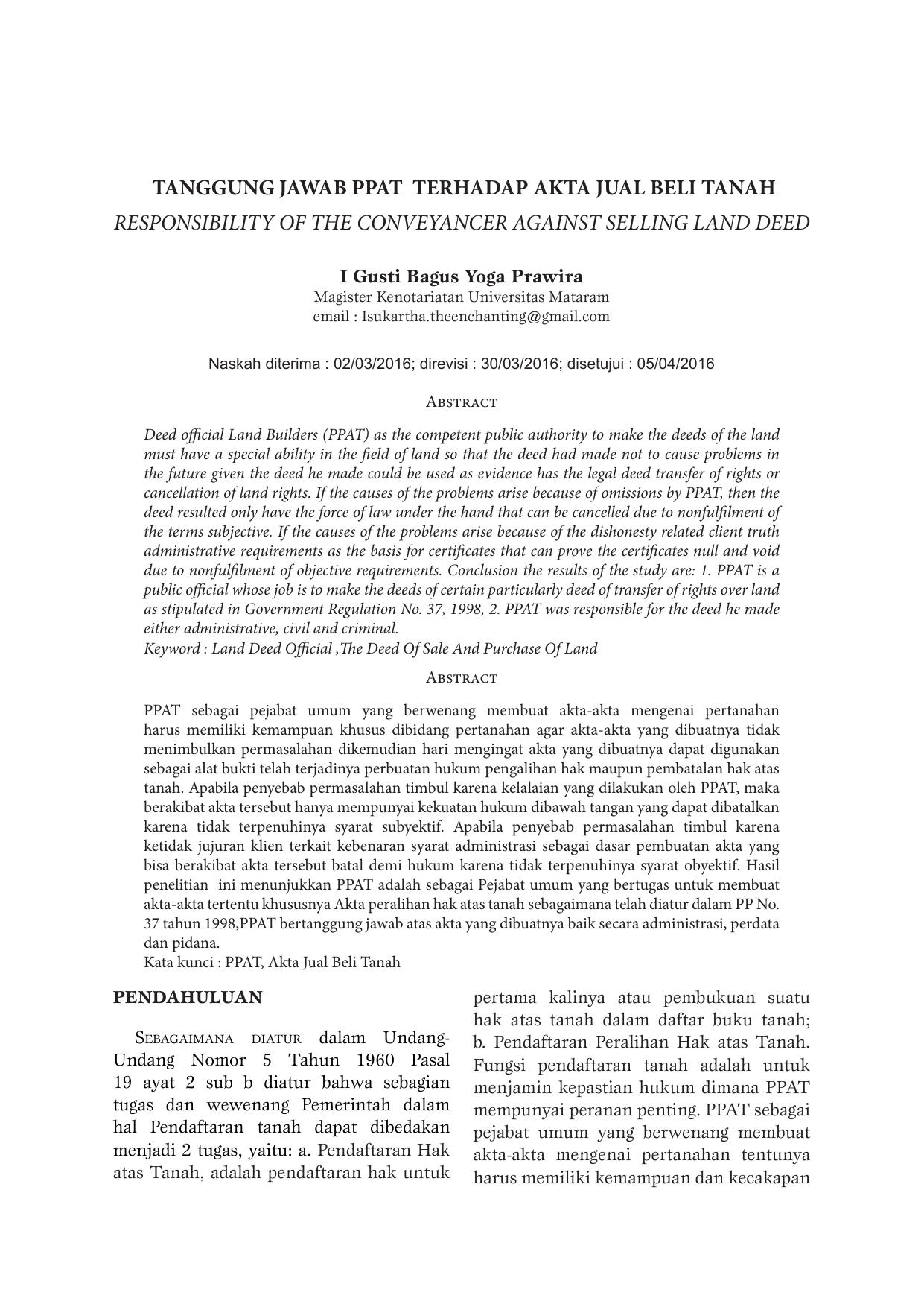 Tanggung Jawab Ppat Terhadap Akta Jual Beli Tanah