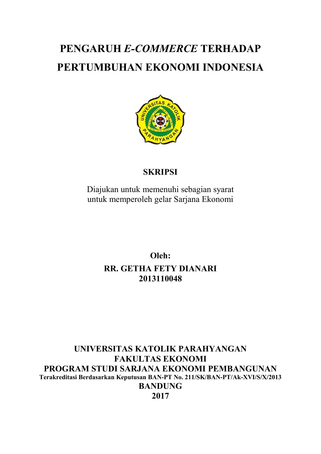 Pengaruh E Commerce Terhadap Pertumbuhan Ekonomi Indonesia