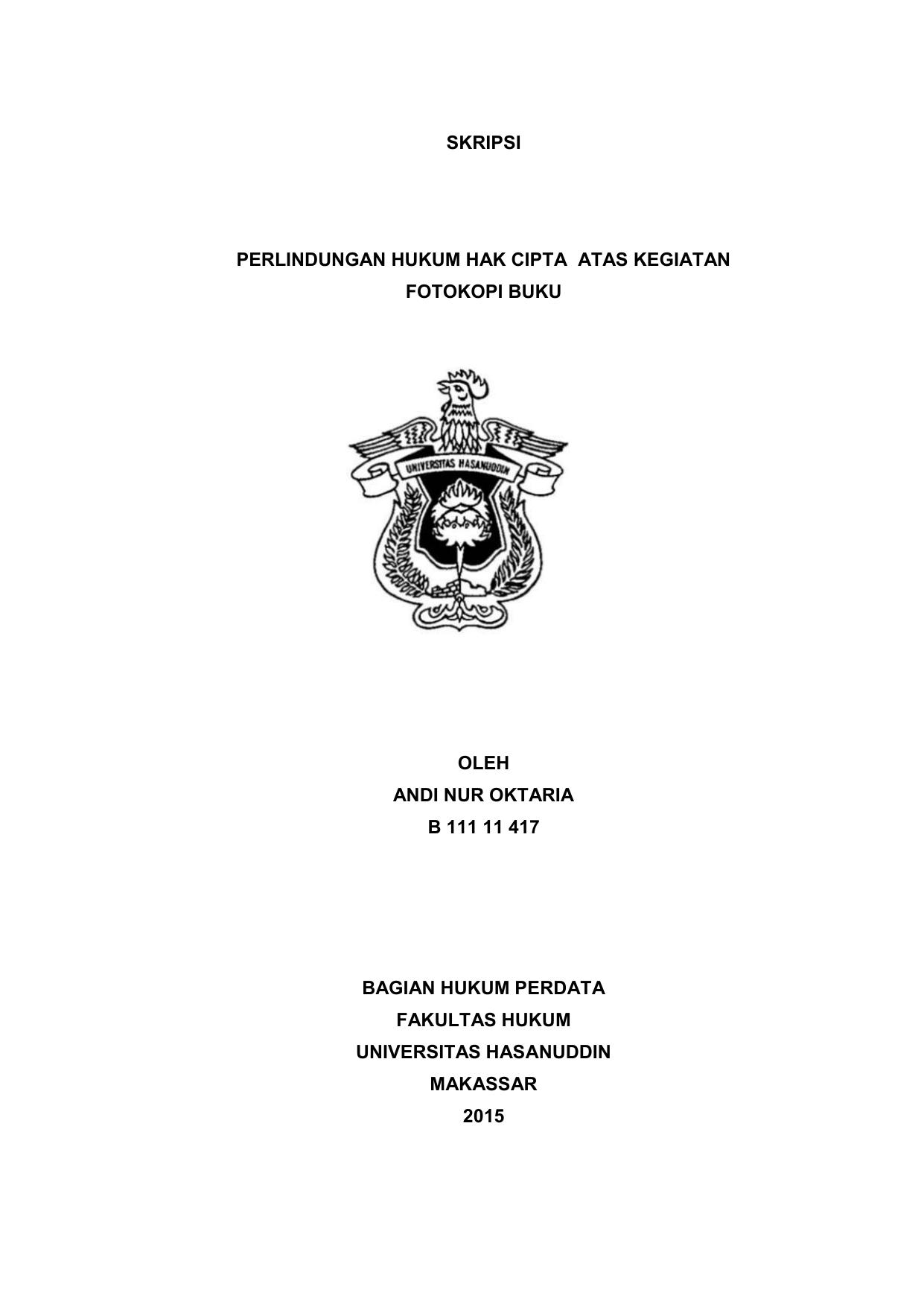 Skripsi Perlindungan Hukum Hak Cipta Atas Kegiatan Fotokopi Buku