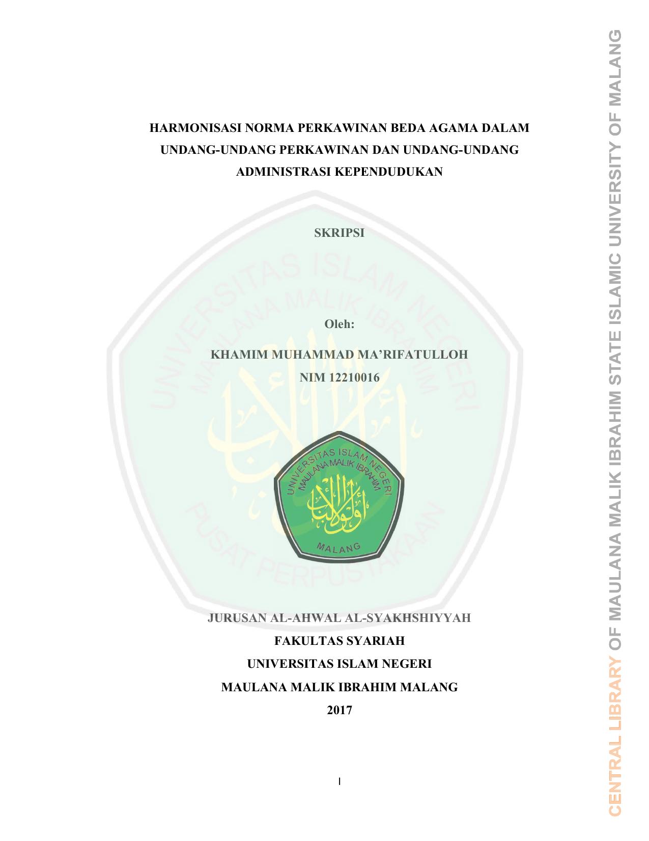 Harmonisasi Norma Perkawinan Beda Agama Dalam