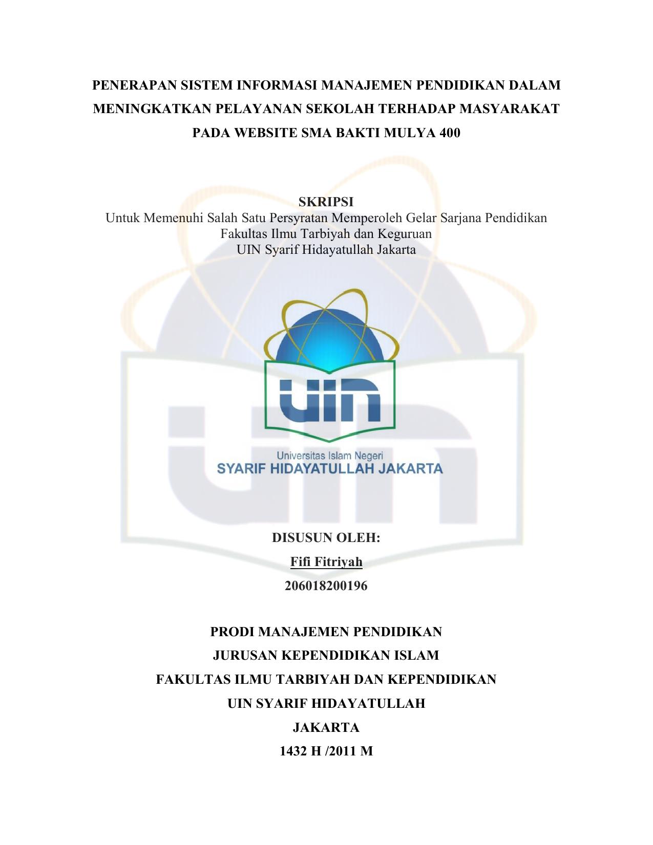 Skripsi Sistem Informasi Manajemen Ide Judul Skripsi Universitas