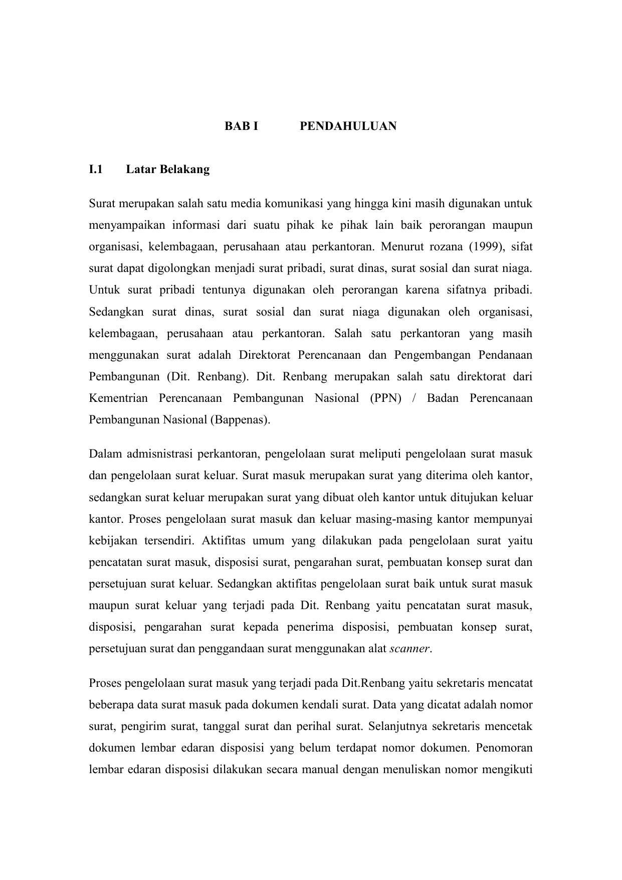 Bab I Pendahuluan I1 Latar Belakang Surat