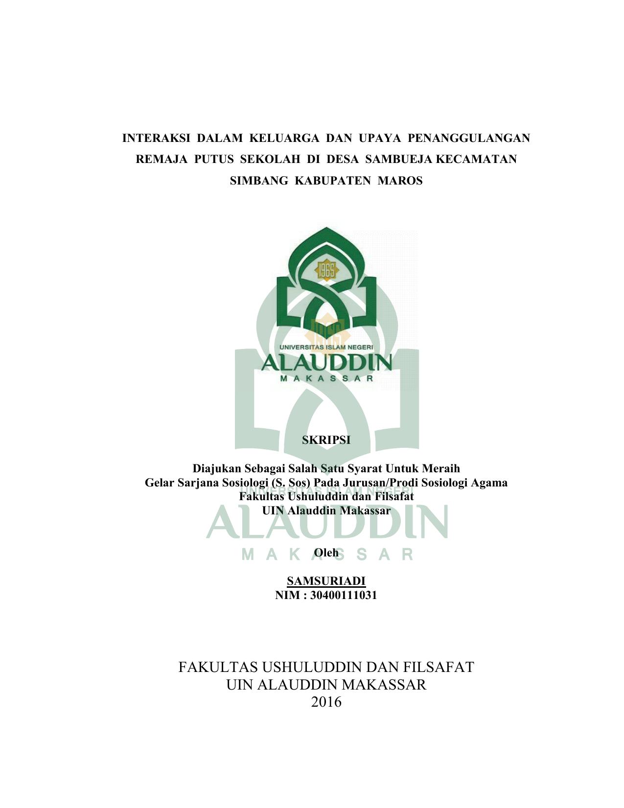 Fakultas Ushuluddin Dan Filsafat Uin Alauddin Makassar 2016