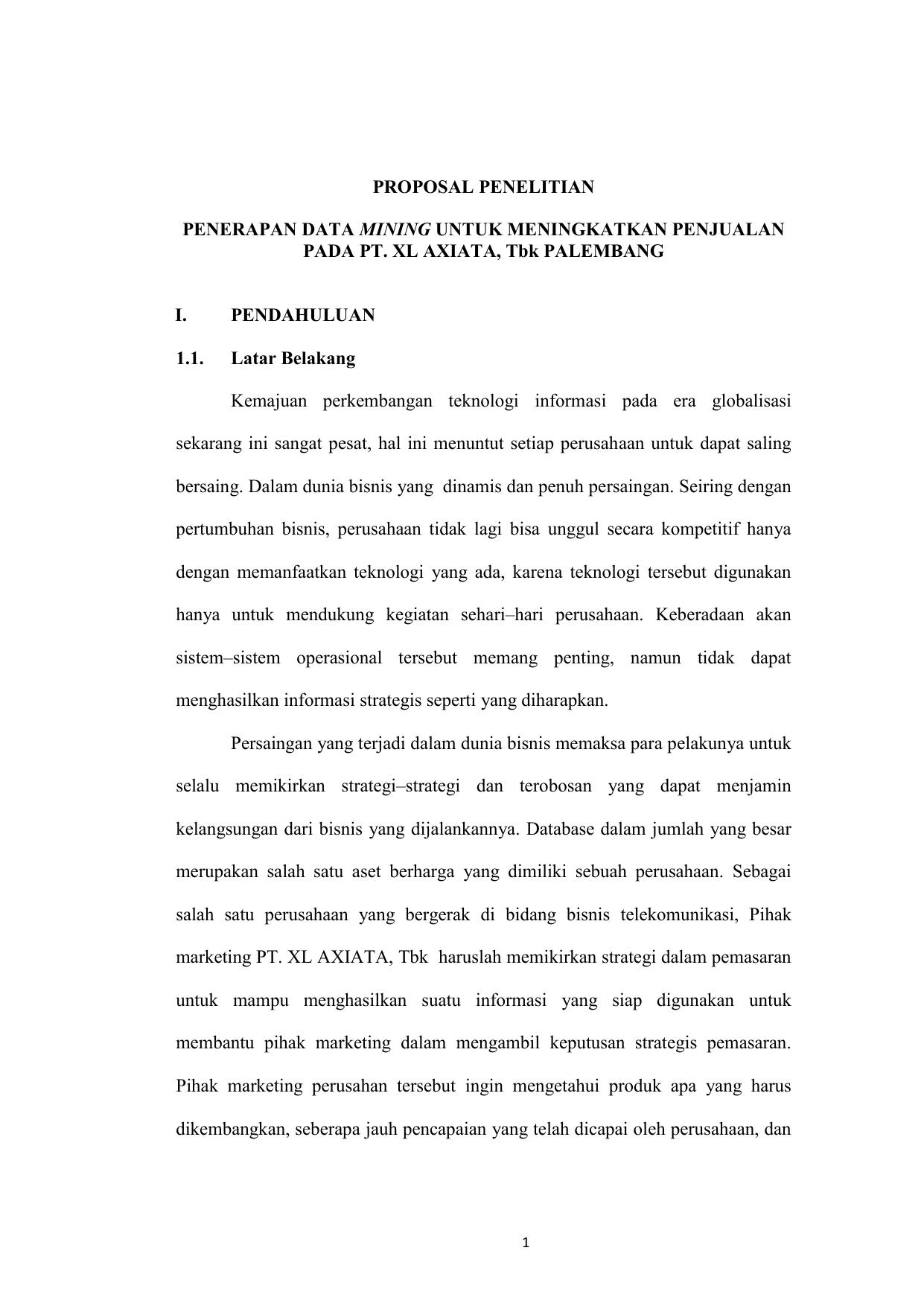 Proposal Penelitian Penerapan Data Mining Untuk