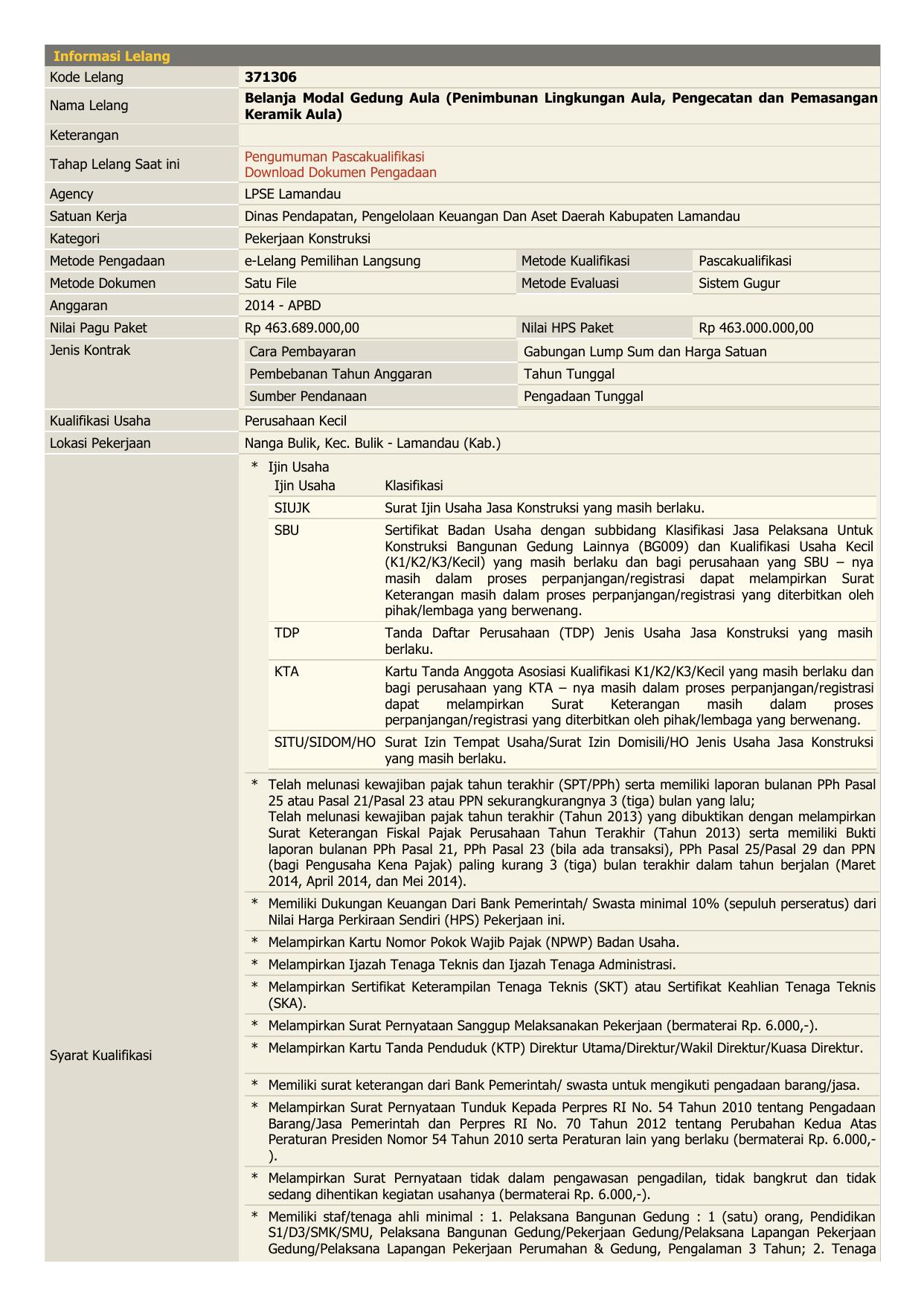 Informasi Lelang Kode Lelang 371306 Nama Lelang Belanja Modal