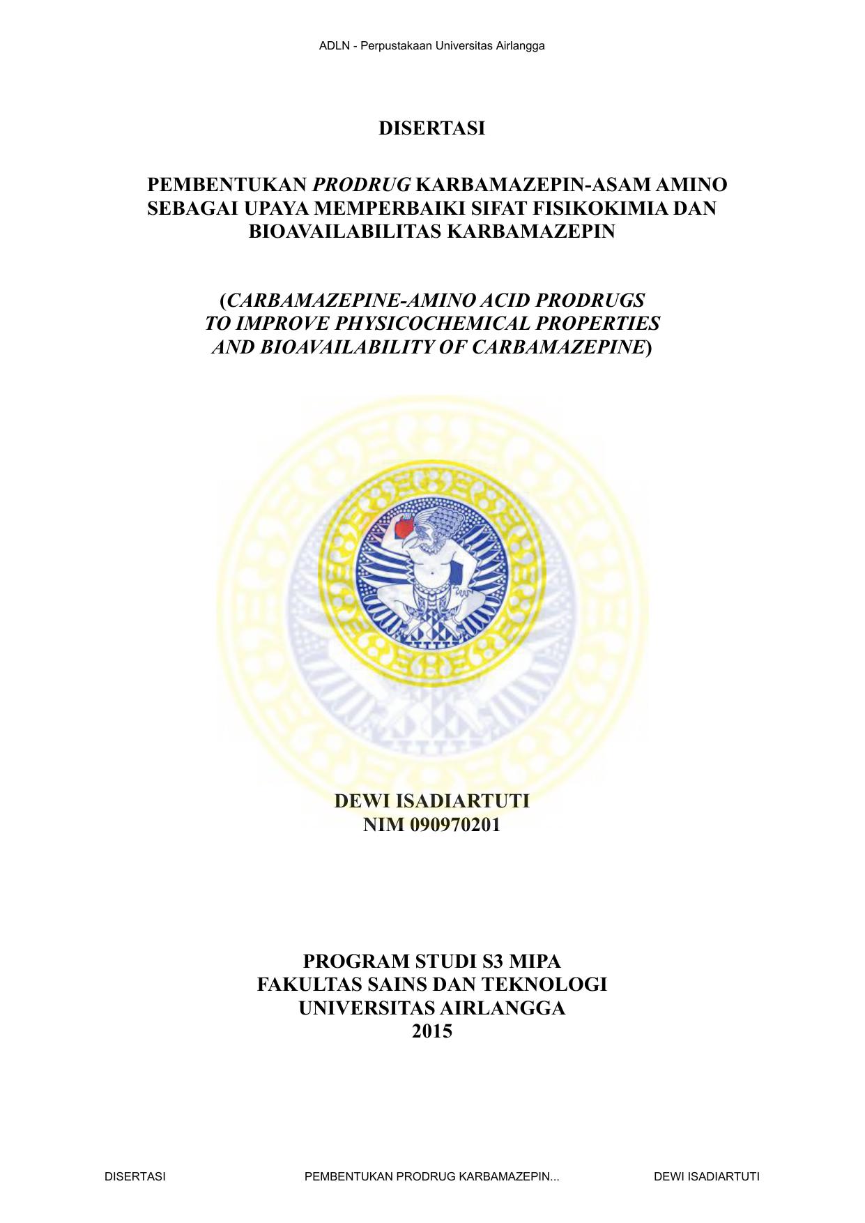Disertasi Pembentukan Prodrug Karbamazepin Hp20amp039 Lv2011