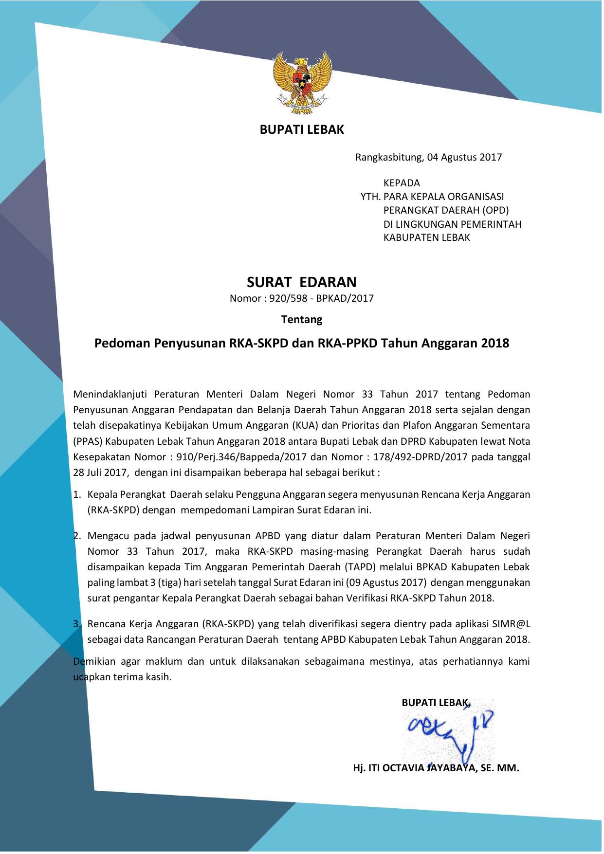 Surat Edaran Badan Pengelolaan Keuangan Dan Aset Daerah