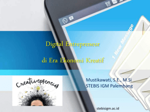 Digital Entrepreneurship di Era Ekonomi Kreatif