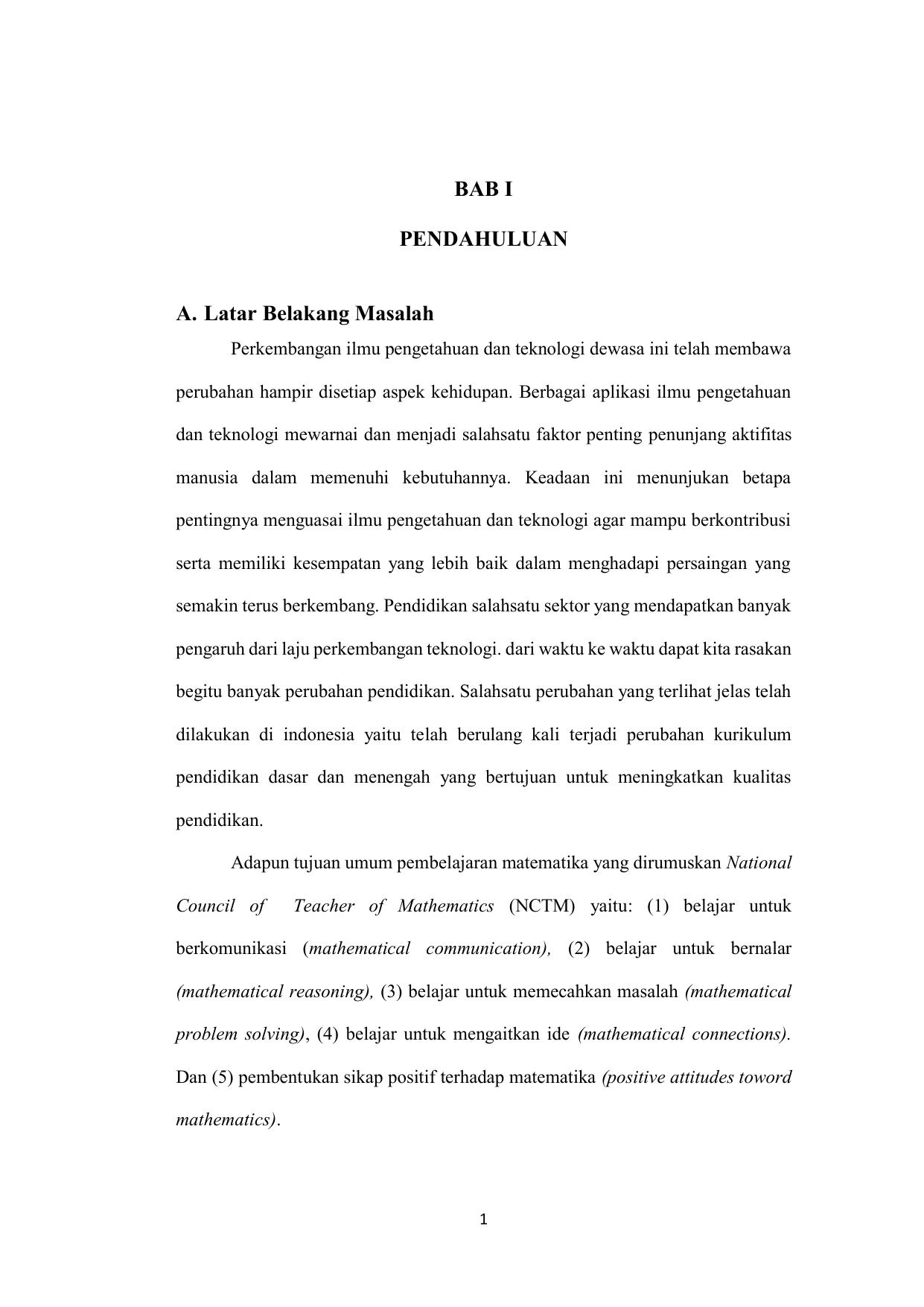 Bab 1 Pendahuluan Skripsi Pendidikan Matematika Ide Judul Skripsi Universitas