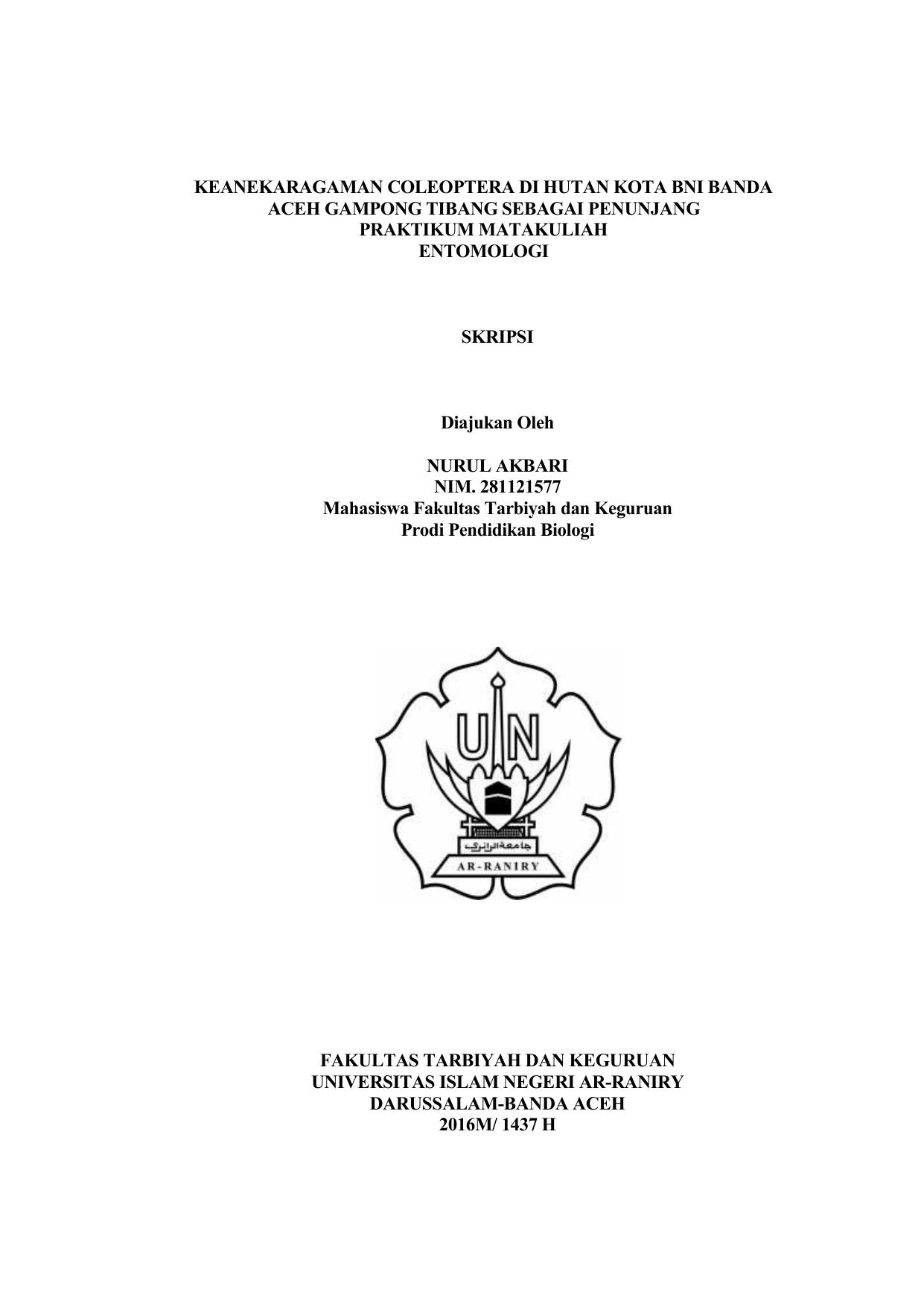 Keanekaragaman Coleoptera Di Hutan Kota Bni Banda Aceh