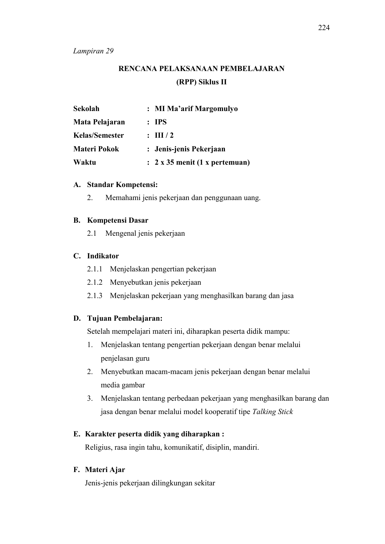 Rpp Ips Kelas 3 Semester 2 Jenis Jenis Pekerjaan