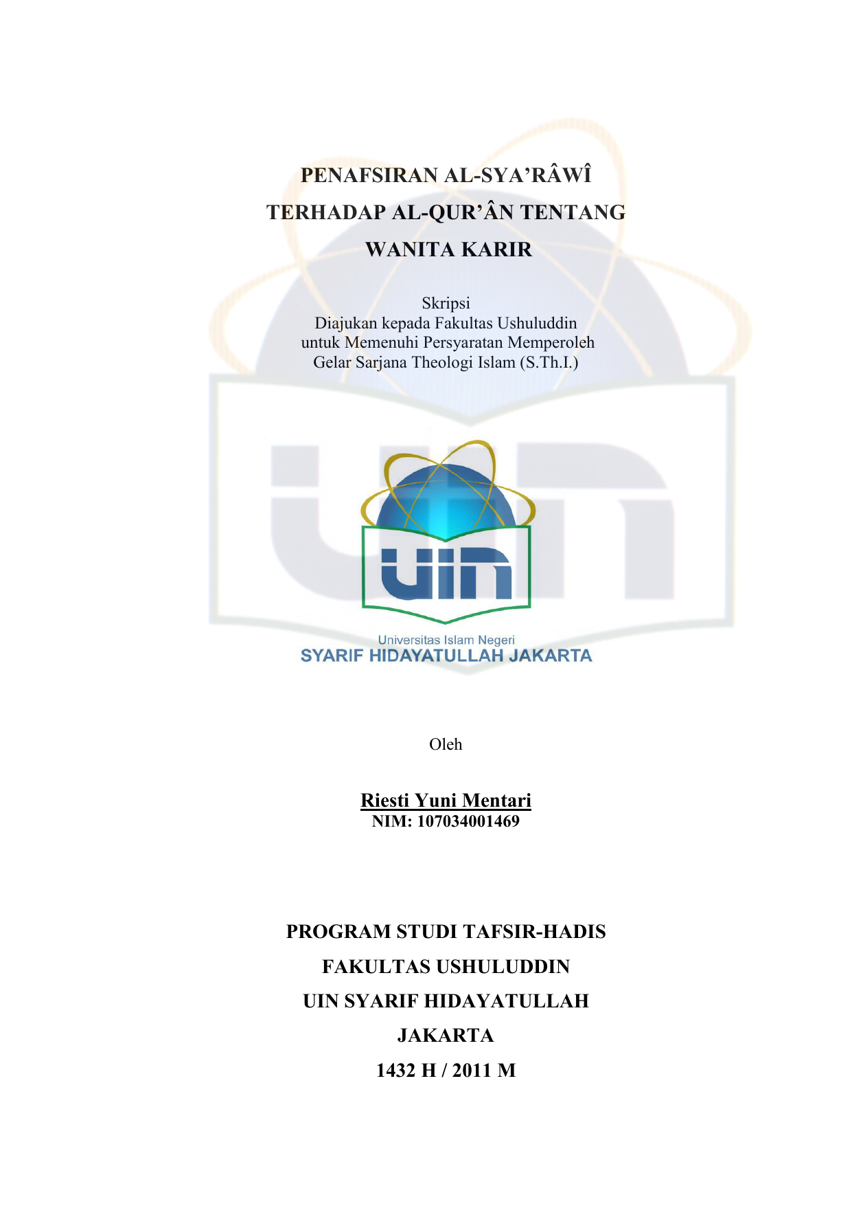 Cover Skripsi Uin Jakarta Ide Judul Skripsi Universitas