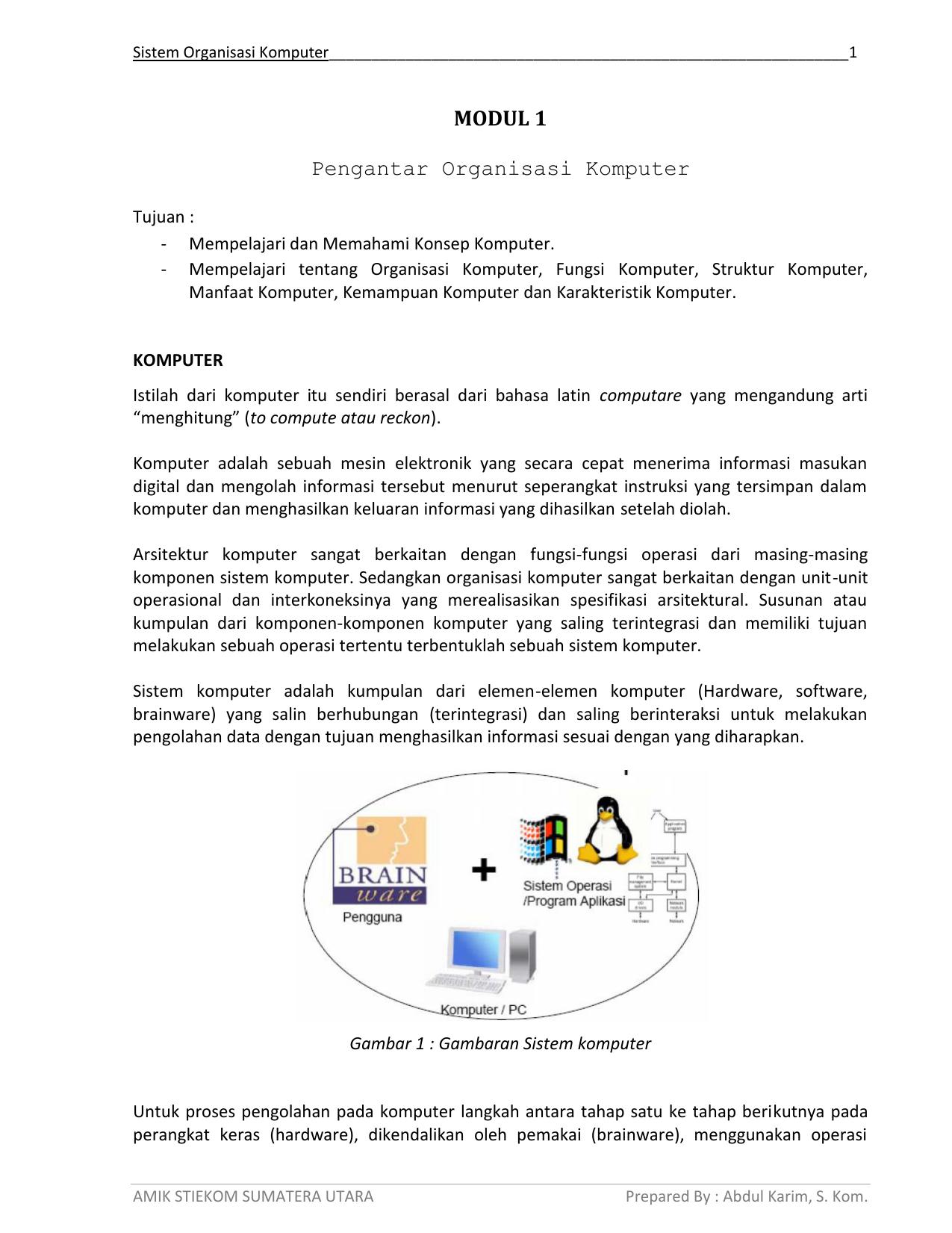 Modul 1 Pengantar Organisasi Komputer