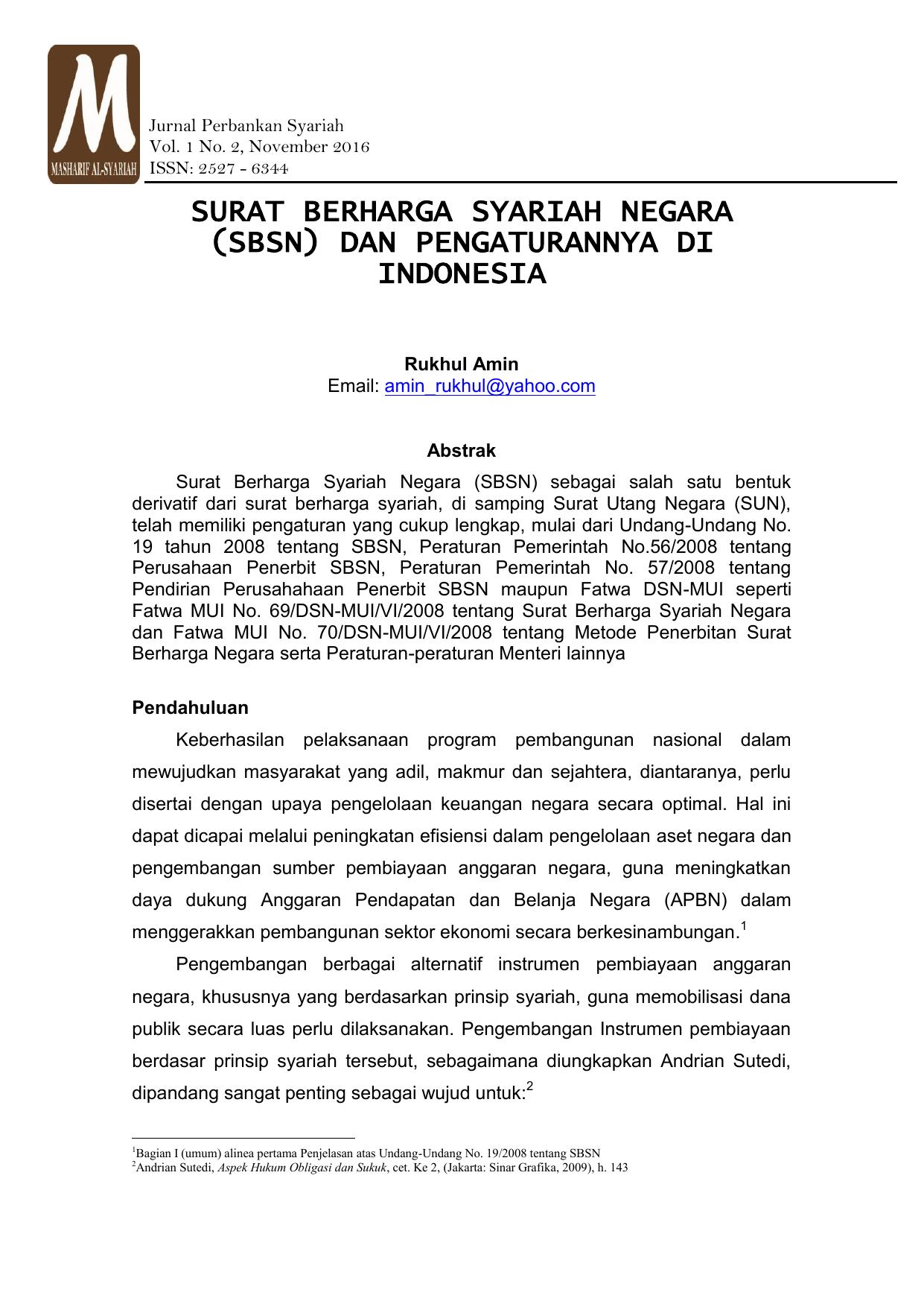 Surat Berharga Syariah Negara Sbsn Dan