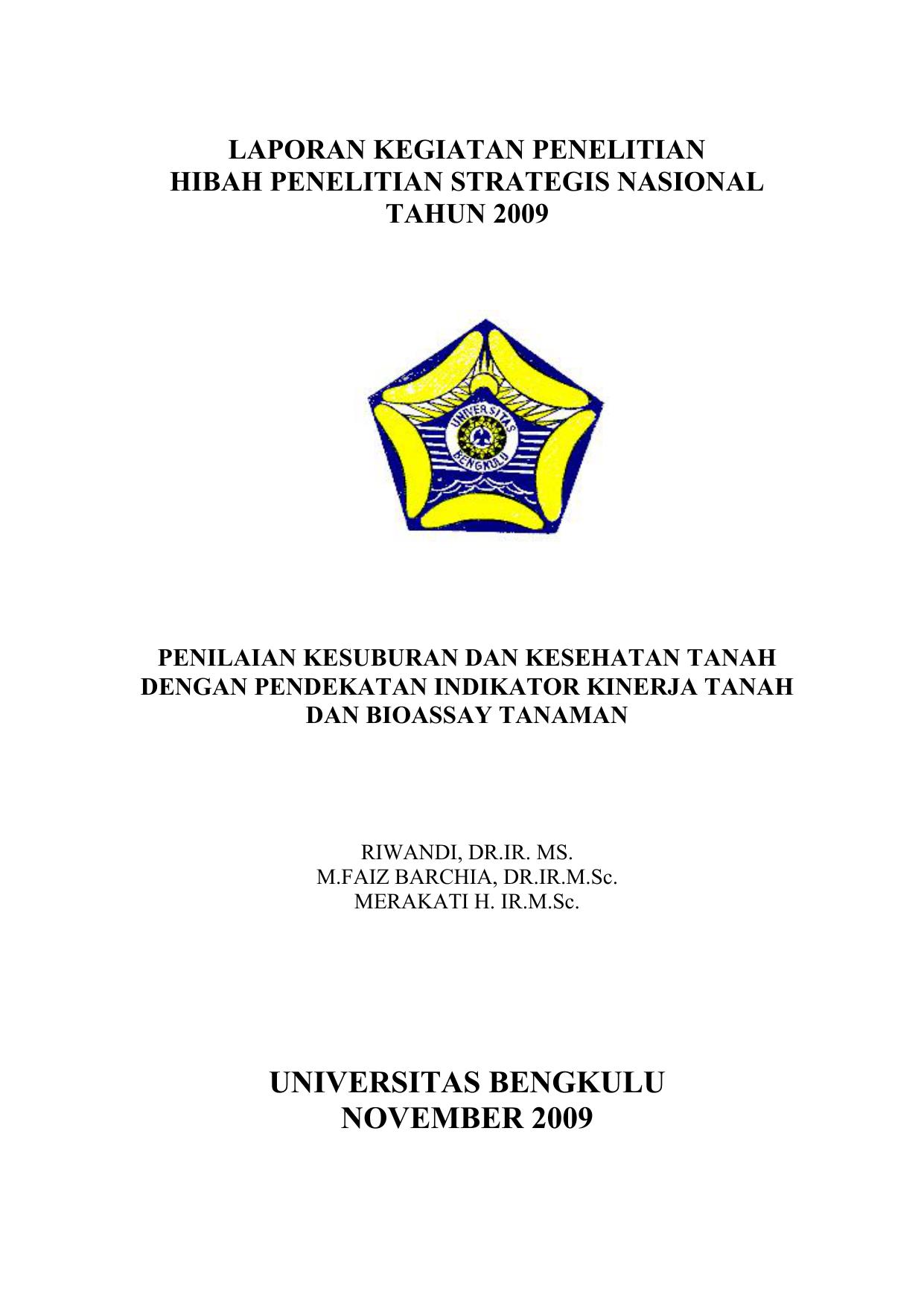 Universitas Bengkulu November 2009