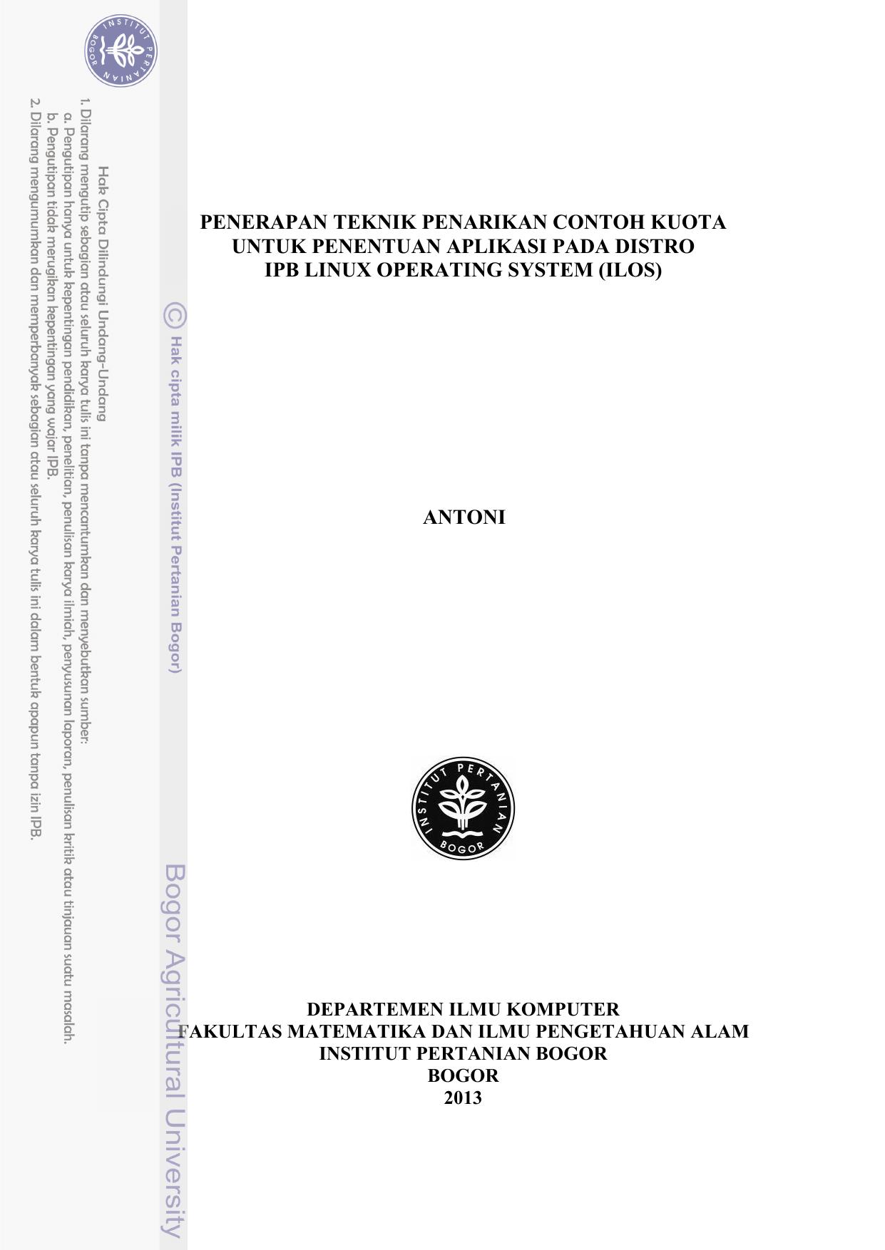 Templat tugas akhir S1 - IPB Repository