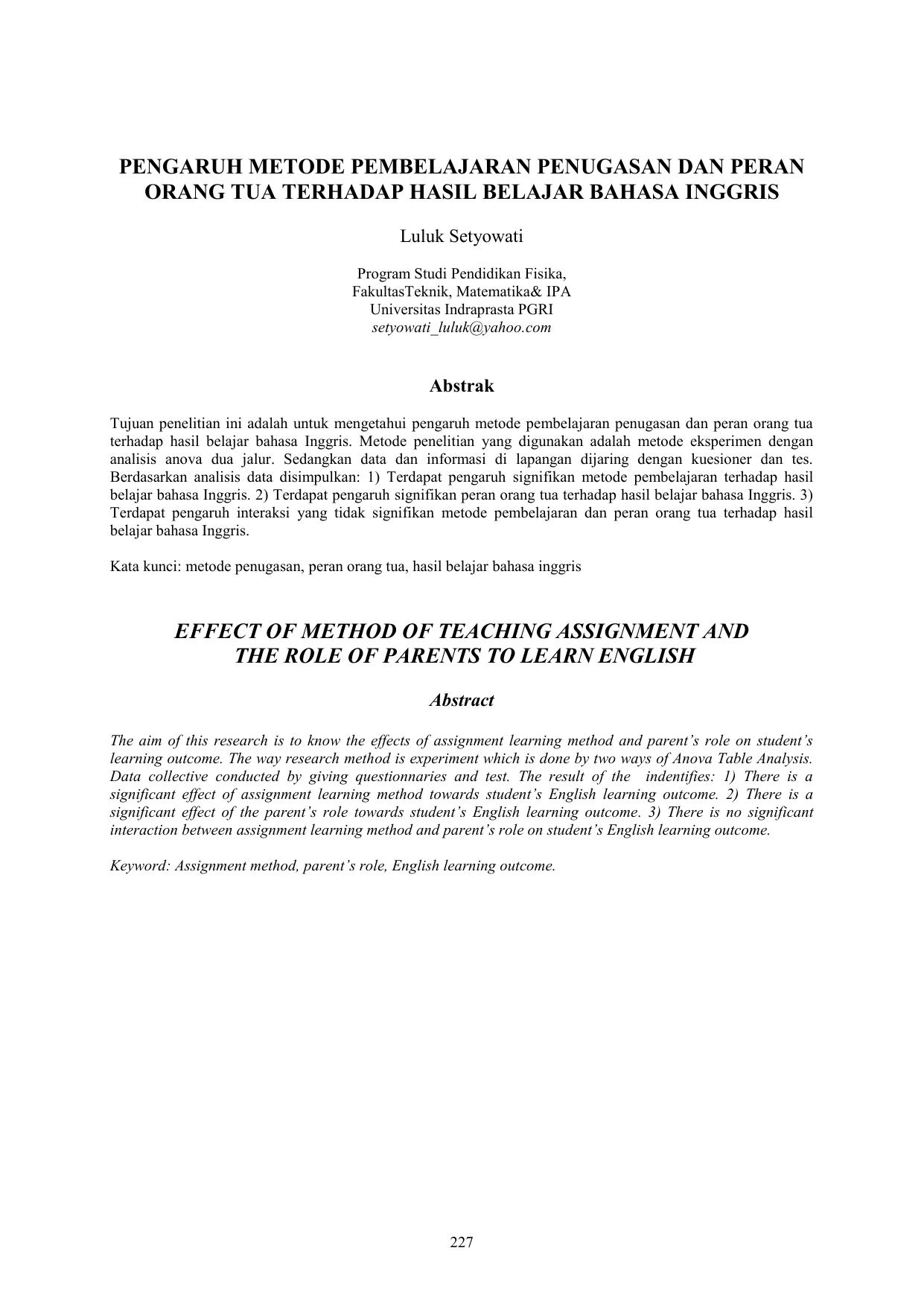 PENGARUH METODE PEMBELAJARAN PENUGASAN DAN PERAN ORANG TUA TERHADAP HASIL BELAJAR BAHASA INGGRIS Luluk Setyowati Program Studi Pendidikan Fisika