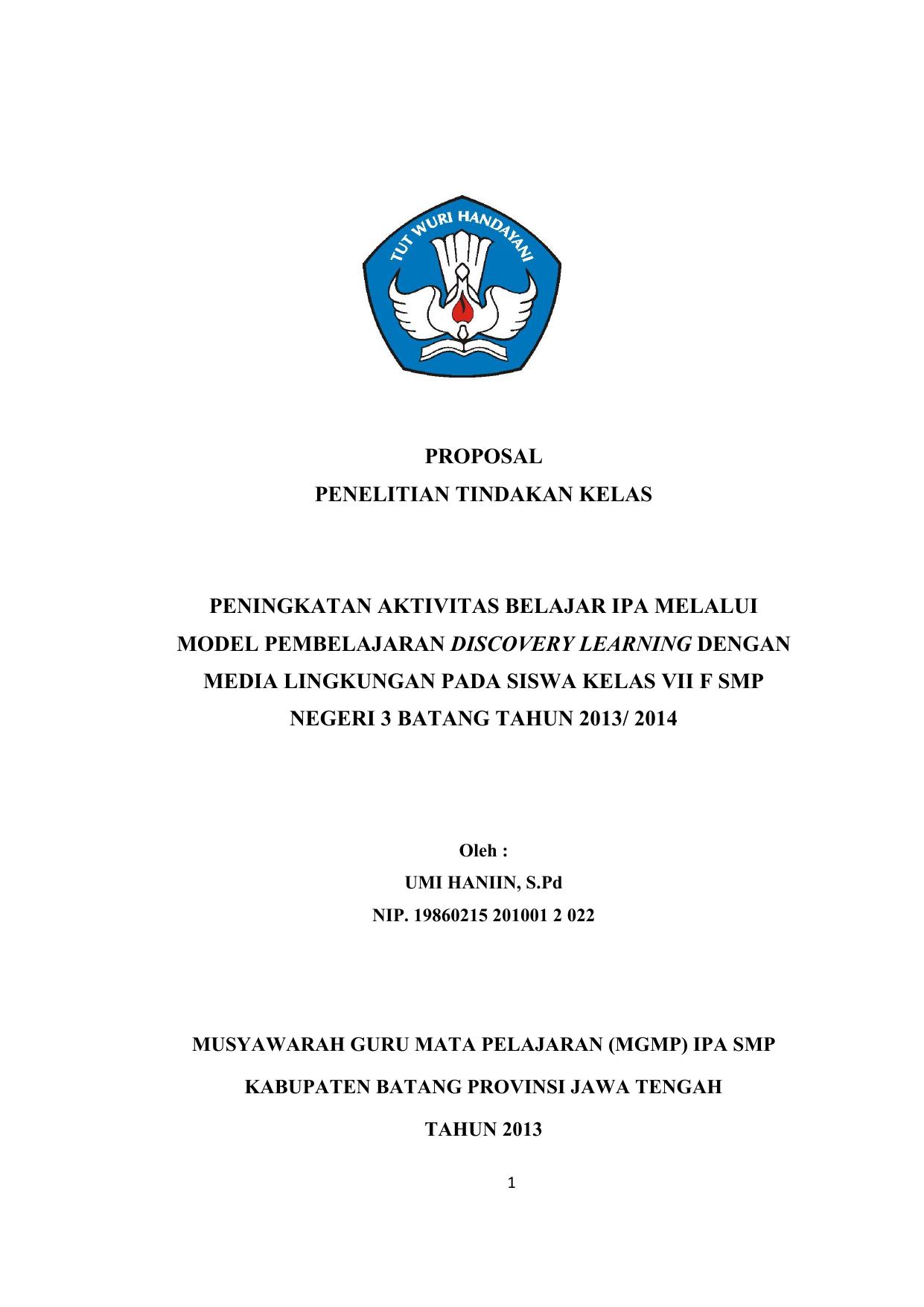 Proposal Penelitian Tindakan Kelas Peningkatan Aktivitas Belajar Ipa