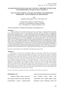 ISSN: 1410-0029 Agrin Vol. 18, No. 2, Oktober 2014 129 ANALISIS
