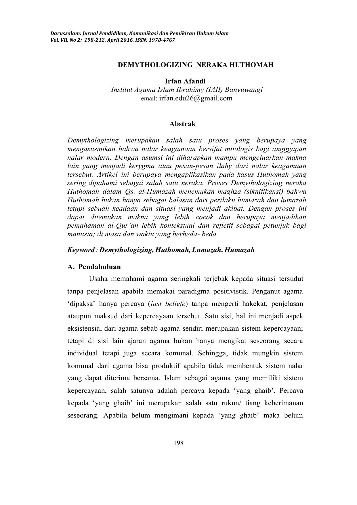 Demythologizing Neraka Huthomah Irfan Afandi Institut
