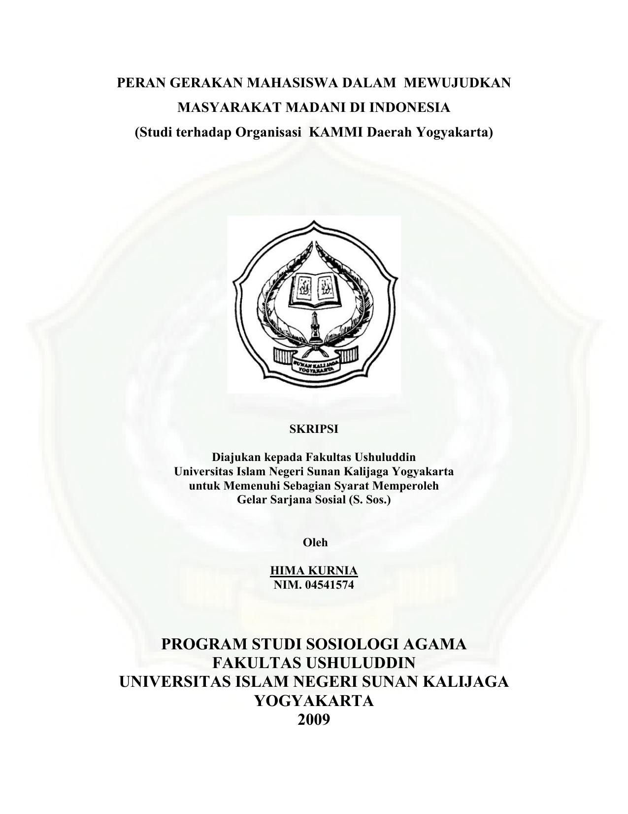 Program Studi Sosiologi Agama Fakultas Ushuluddin Universitas Islam