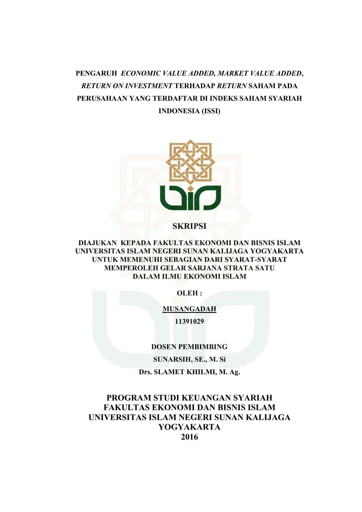 Skripsi Program Studi Keuangan Syariah Fakultas Ekonomi Dan Bisnis