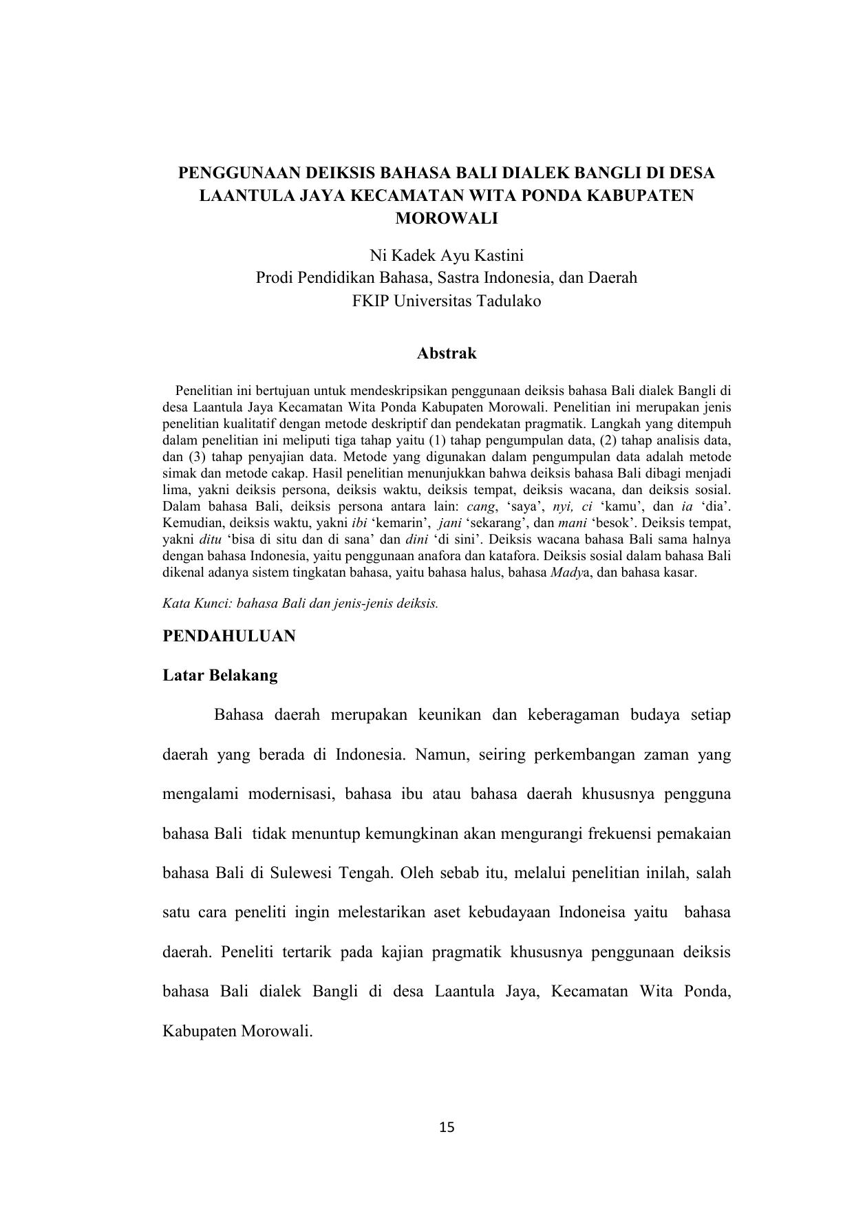 Penggunaan Deiksis Bahasa Bali Dialek Bangli Di
