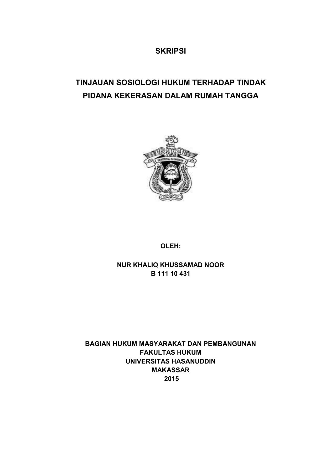 Skripsi Tinjauan Sosiologi Hukum Terhadap Tindak Pidana