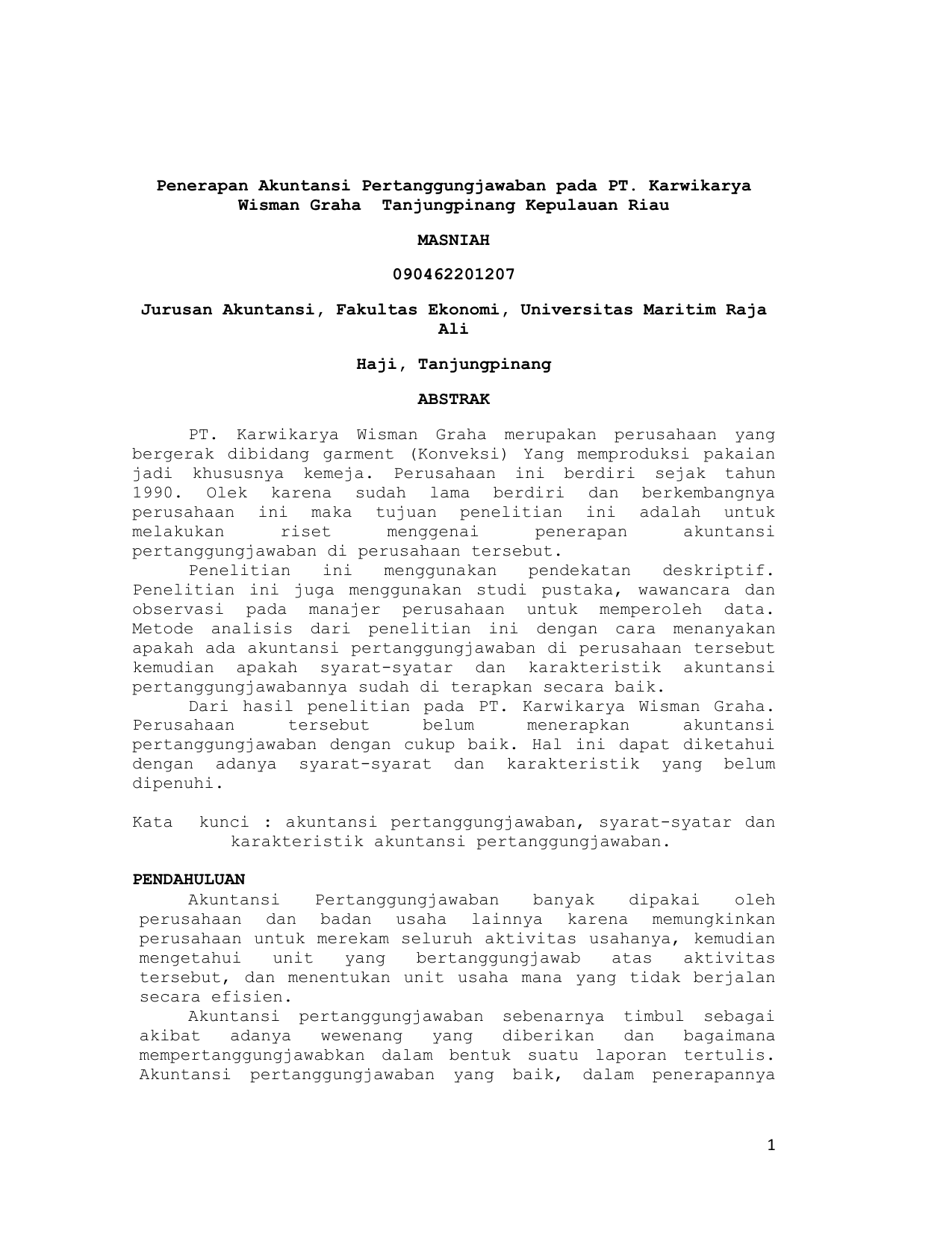 1 Penerapan Akuntansi Pertanggungjawaban Pada Pt Karwikarya