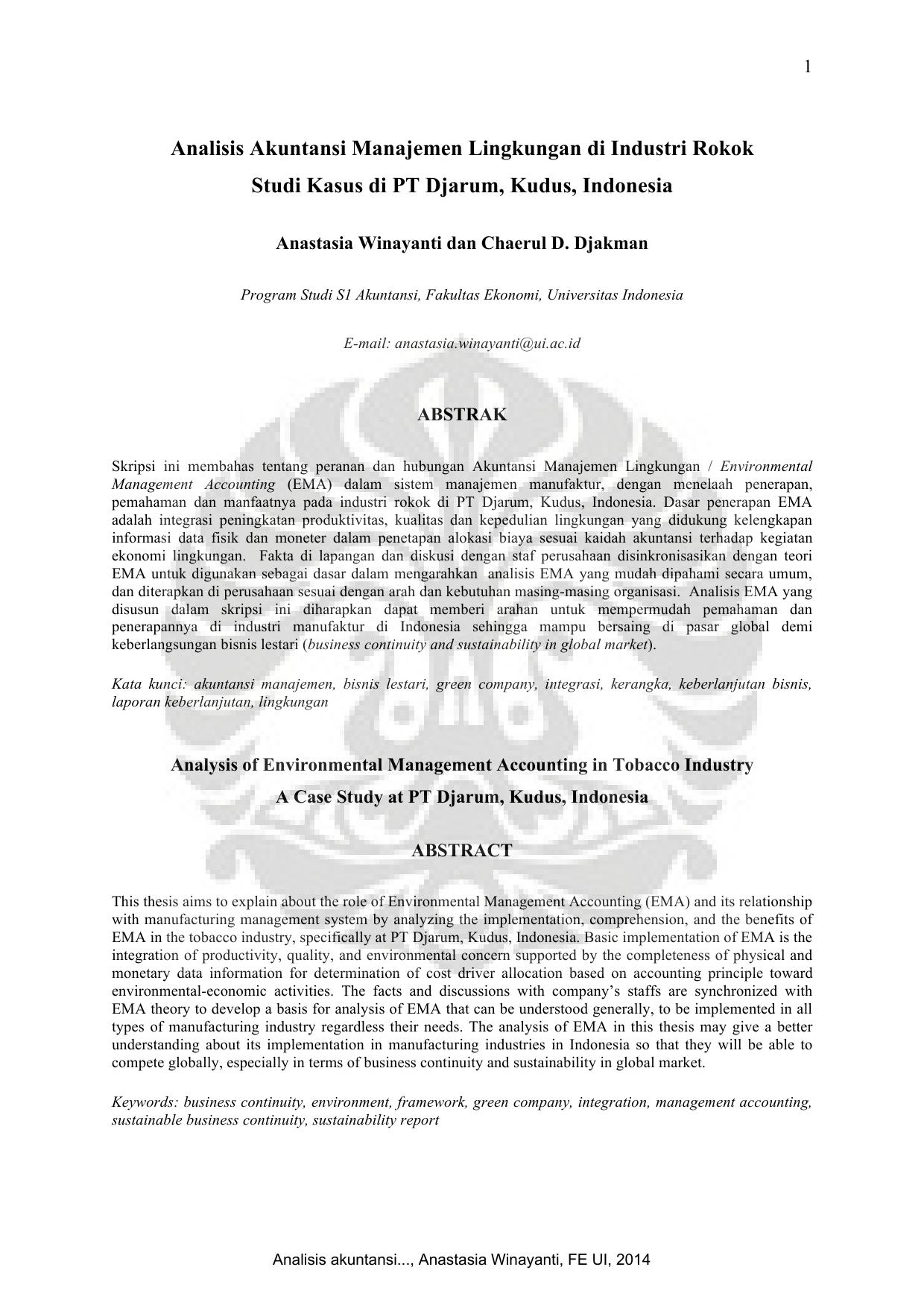 Analisis Akuntansi Manajemen Lingkungan Di Industri Rokok Studi
