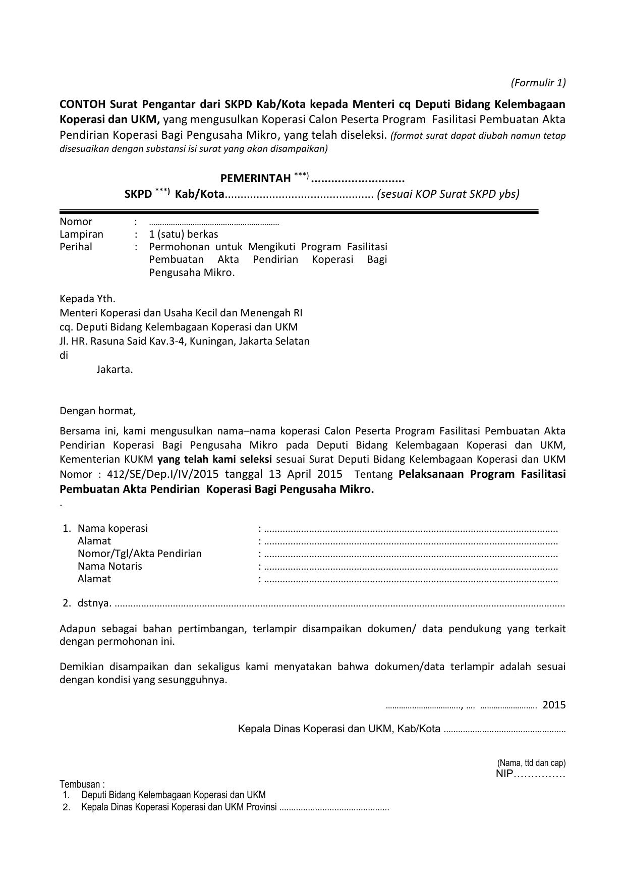 Contoh Surat Pengantar Dari Skpd Kabkota Kepada Menteri Cq