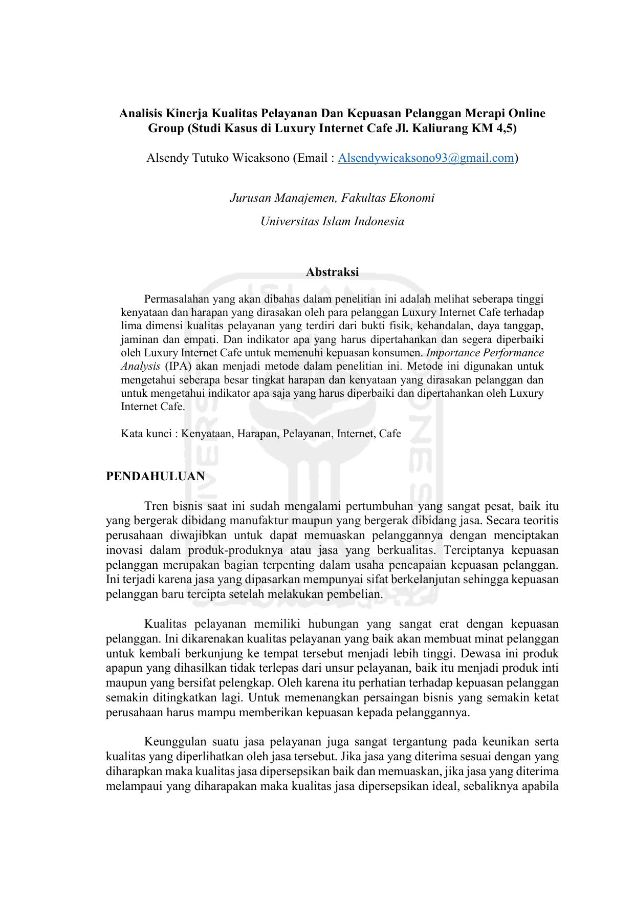 Analisis kinerja kualitas pelayanan dan kepuasan pelanggan ccuart Images