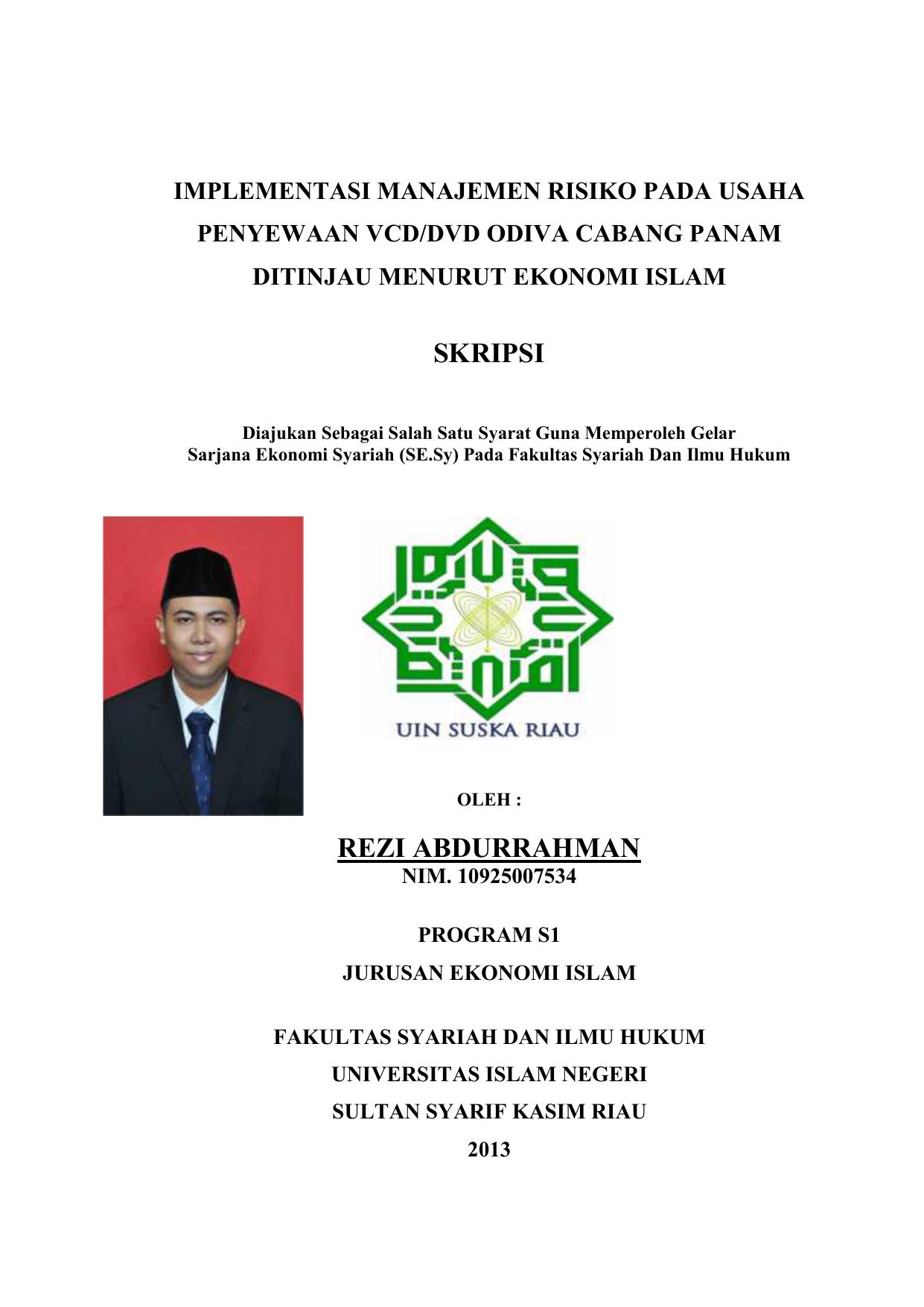 Skripsi Rezi Abdurrahman Repository Uin Suska