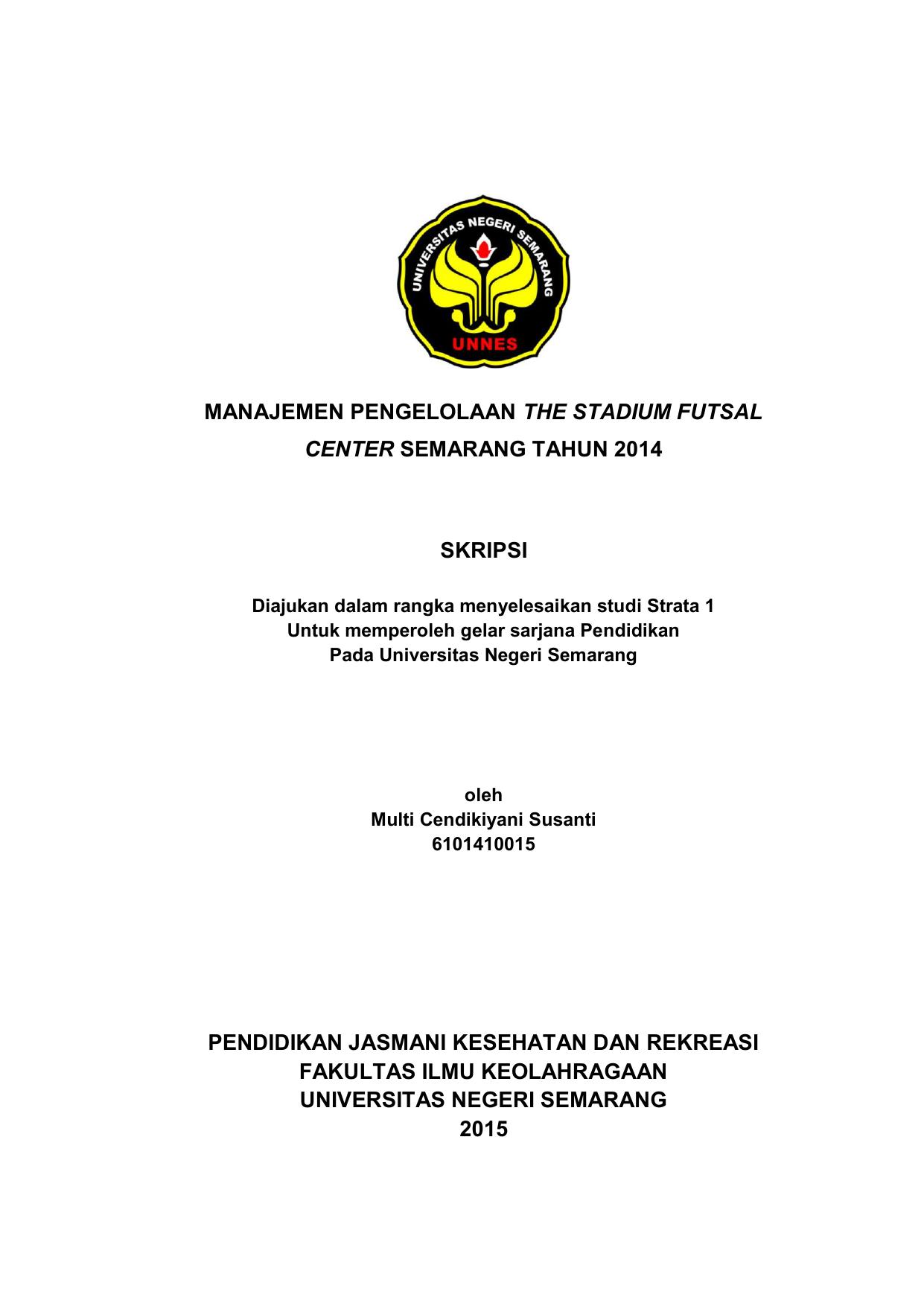 Skripsi Olahraga Futsal Ide Judul Skripsi Universitas