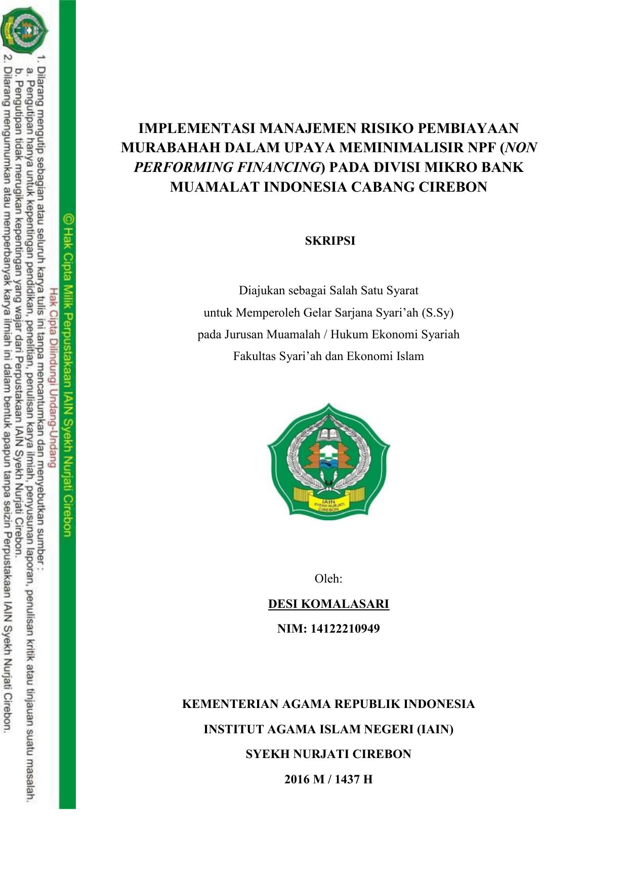 Implementasi Manajemen Risiko Pembiayaan Murabahah Dalam