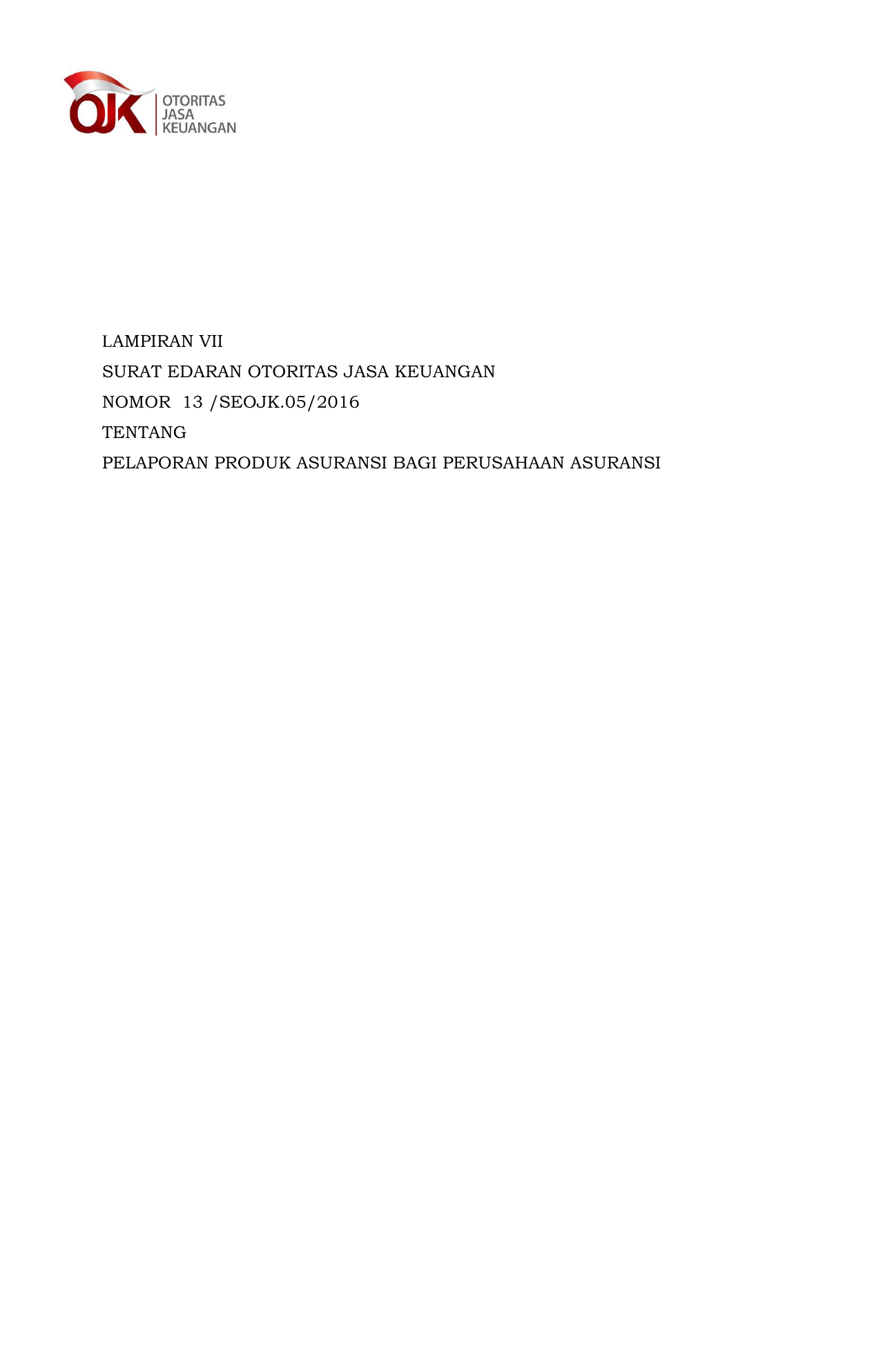 Lampiran Vii Surat Edaran Otoritas Jasa Keuangan