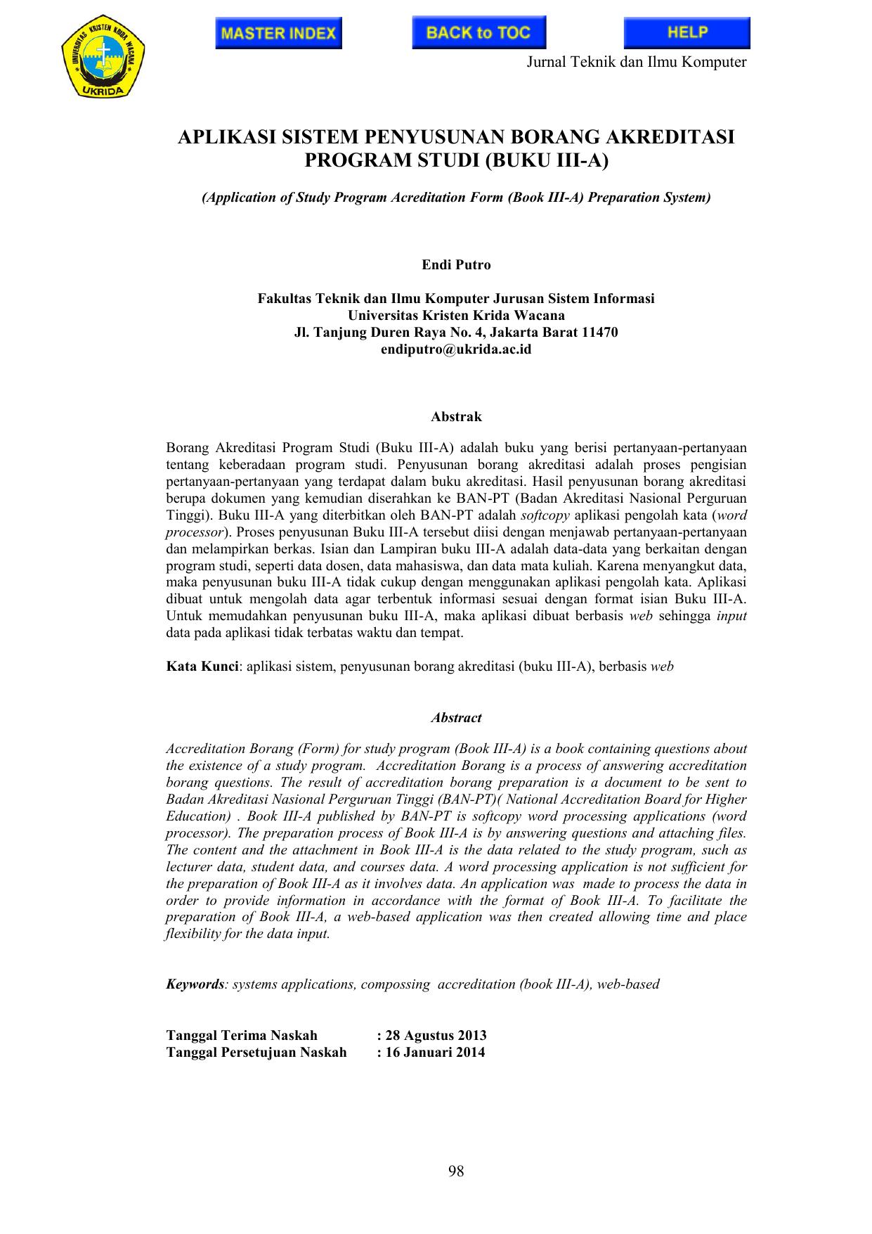Aplikasi Sistem Penyusunan Borang Akreditasi Program Studi
