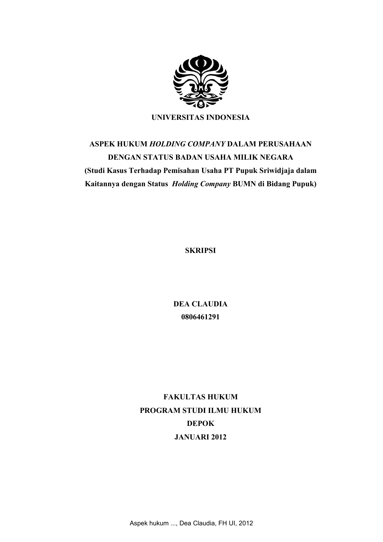 Universitas Indonesia Aspek Hukum Holding Company