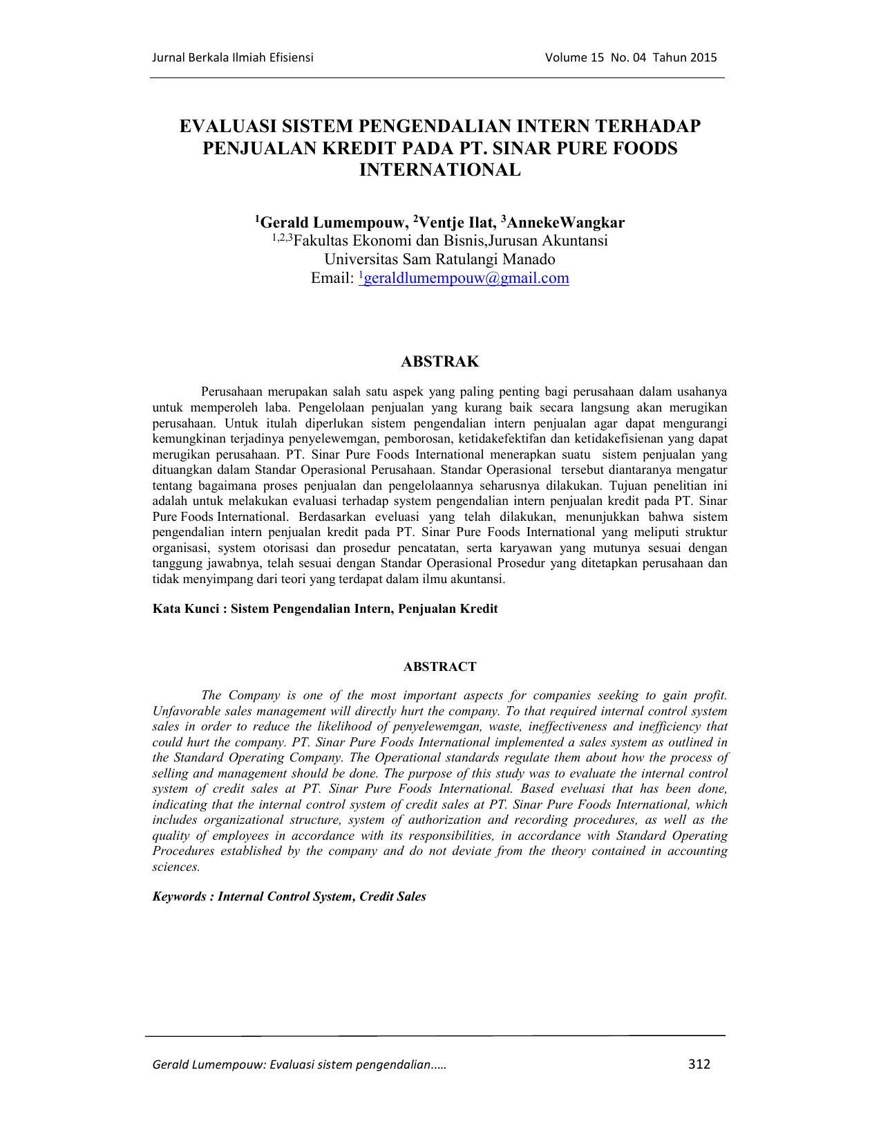 Evaluasi Sistem Pengendalian Intern Terhadap