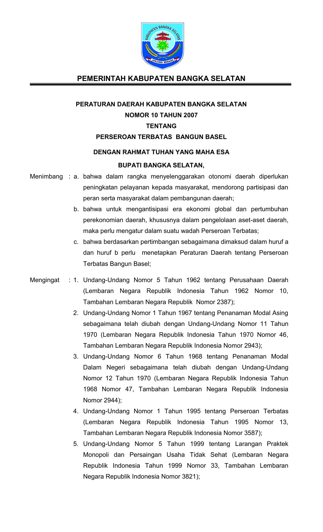 Peraturan Daerah Kabupaten Bangka Selatan