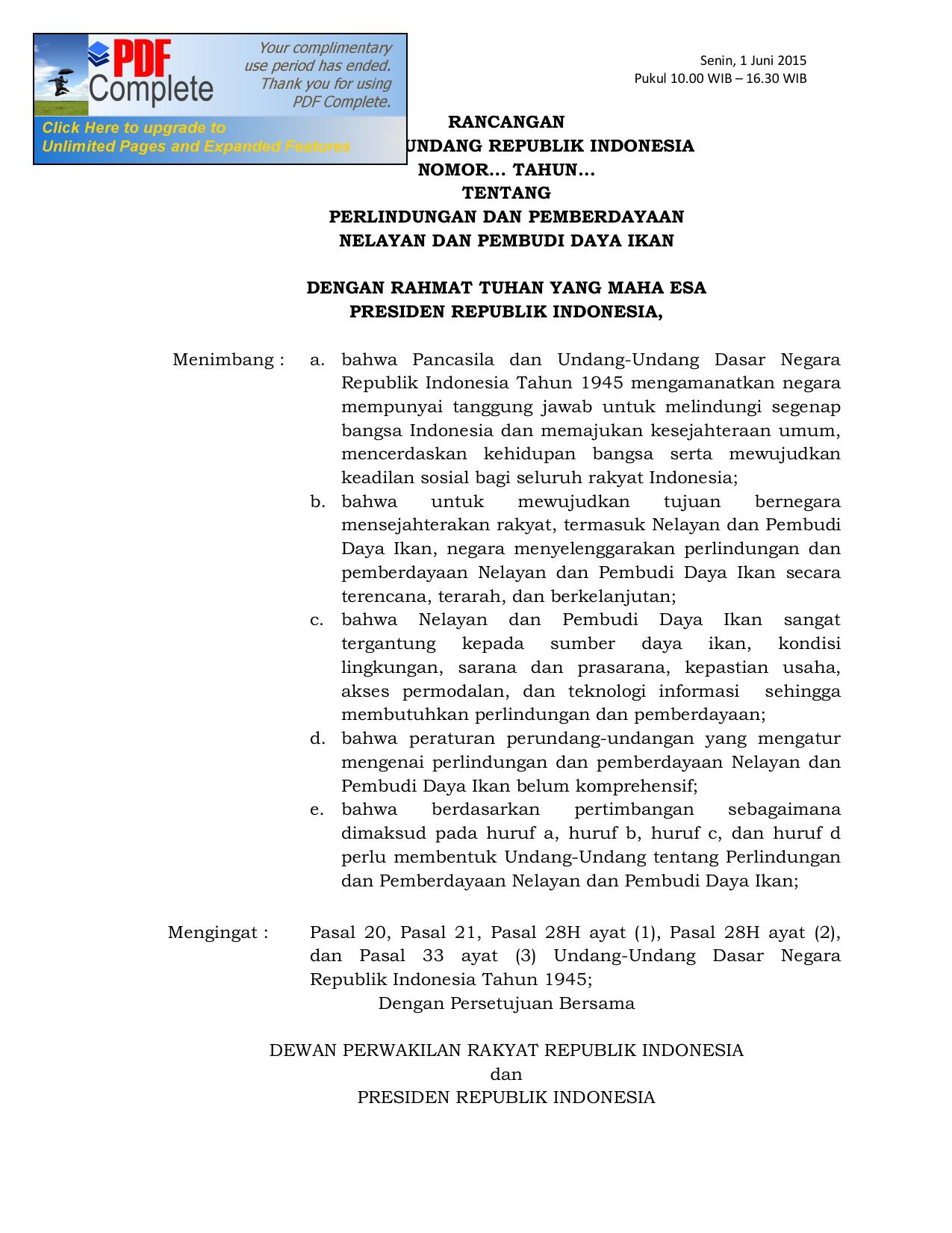 rancangan undang-undang republik indonesia