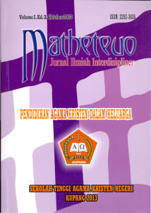 Jurnal Matheteuo Vol. I Ed. 3 Oktober 2013