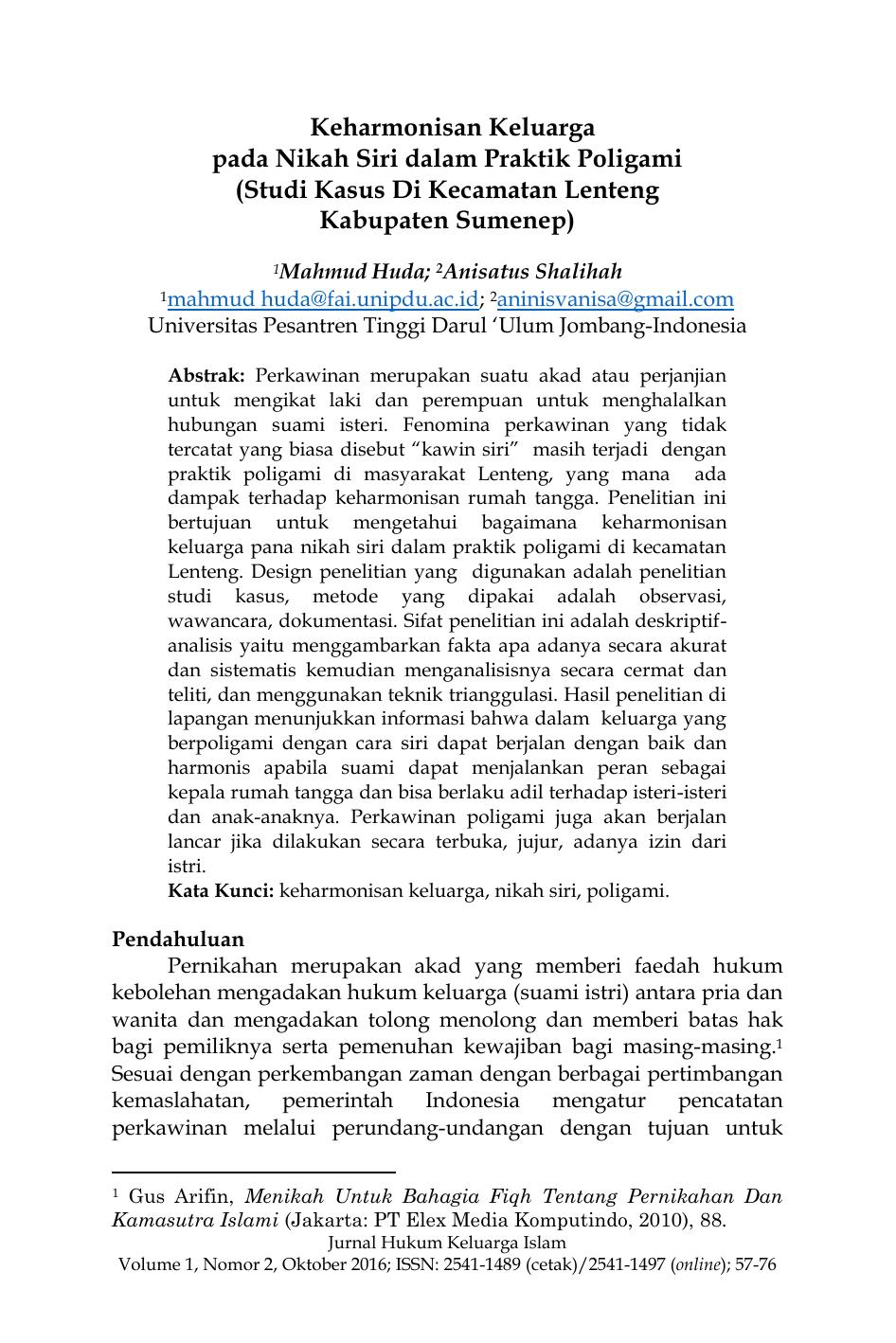 Keharmonisan Keluarga Pada Nikah Siri Dalam Praktik Poligami